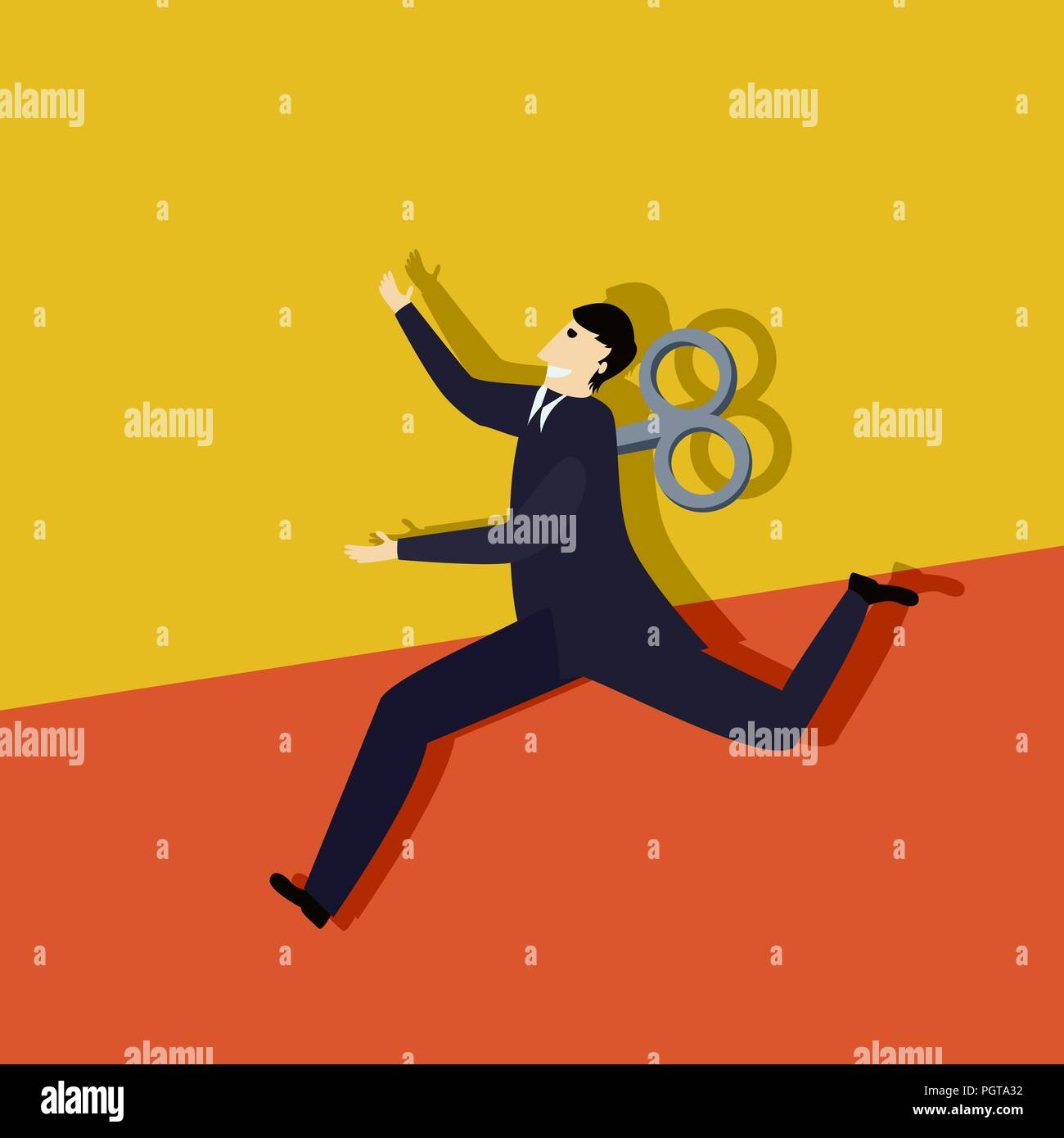 Business man clockwork run, conceptual corporate graphic - Stock Vector