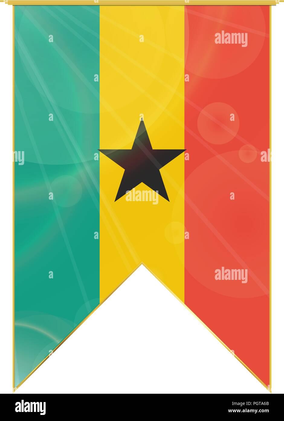 Luxury vertical ribbon with Ghana flag framed in gold - Stock Vector