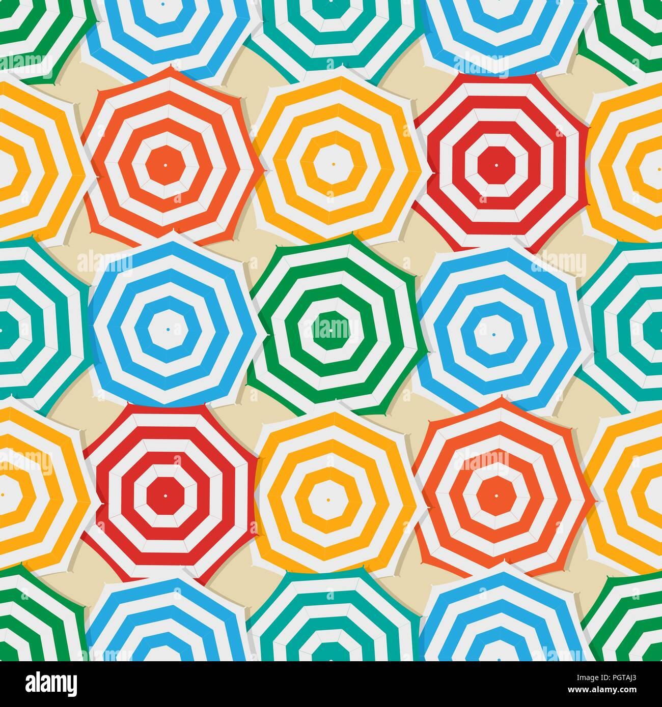 Seamless pattern design with beach umbrellas - Stock Image