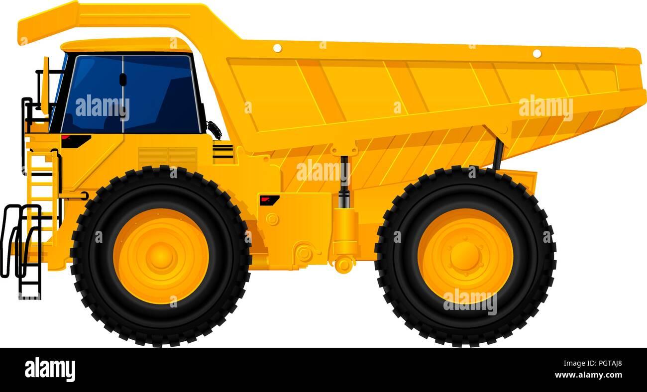 Heavy Duty Dump Truck Tipper Drawing On White