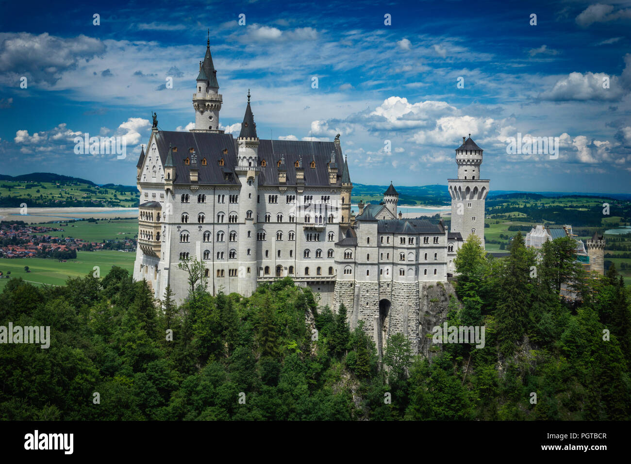 Neuschwanstein castle from Marienbrücke (Allgäu, Bavaria, Germany) - Stock Image