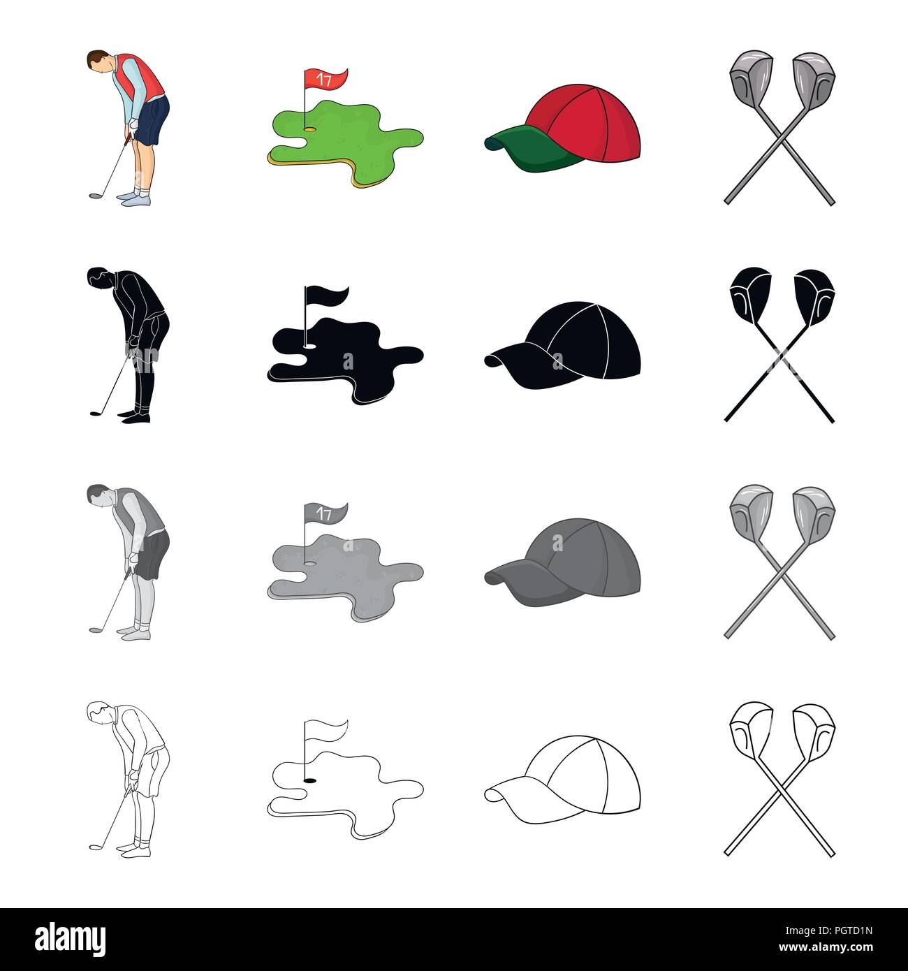golfer with stick golf course cap crossed clubs golf set