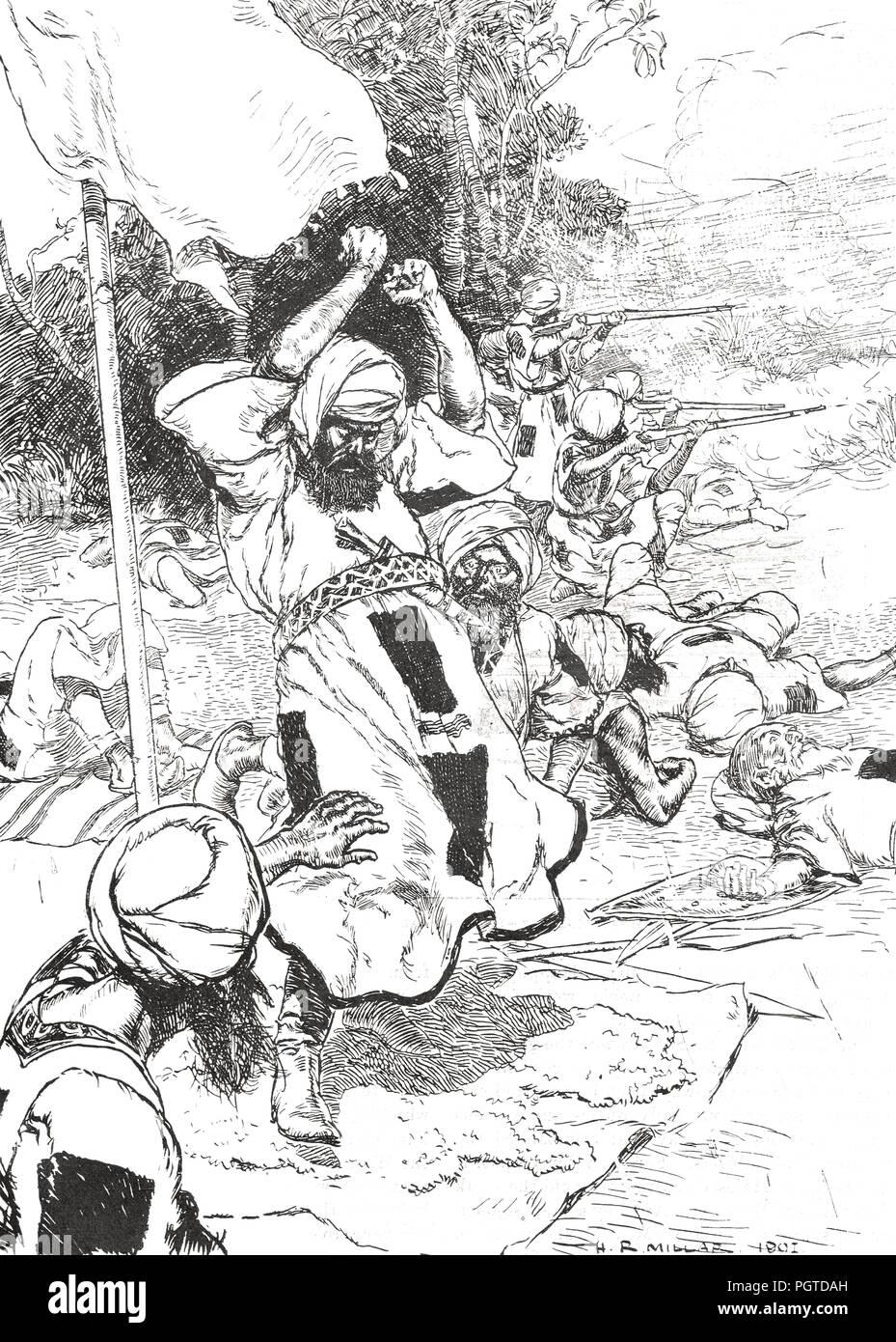 The death of the Khalifa, Abdullah Ibn-Mohammed, 25 November 1899, killed by Sir Reginald Wingate's Egyptian column at Umm Diwaikarat, Kordofan, Sudan - Stock Image