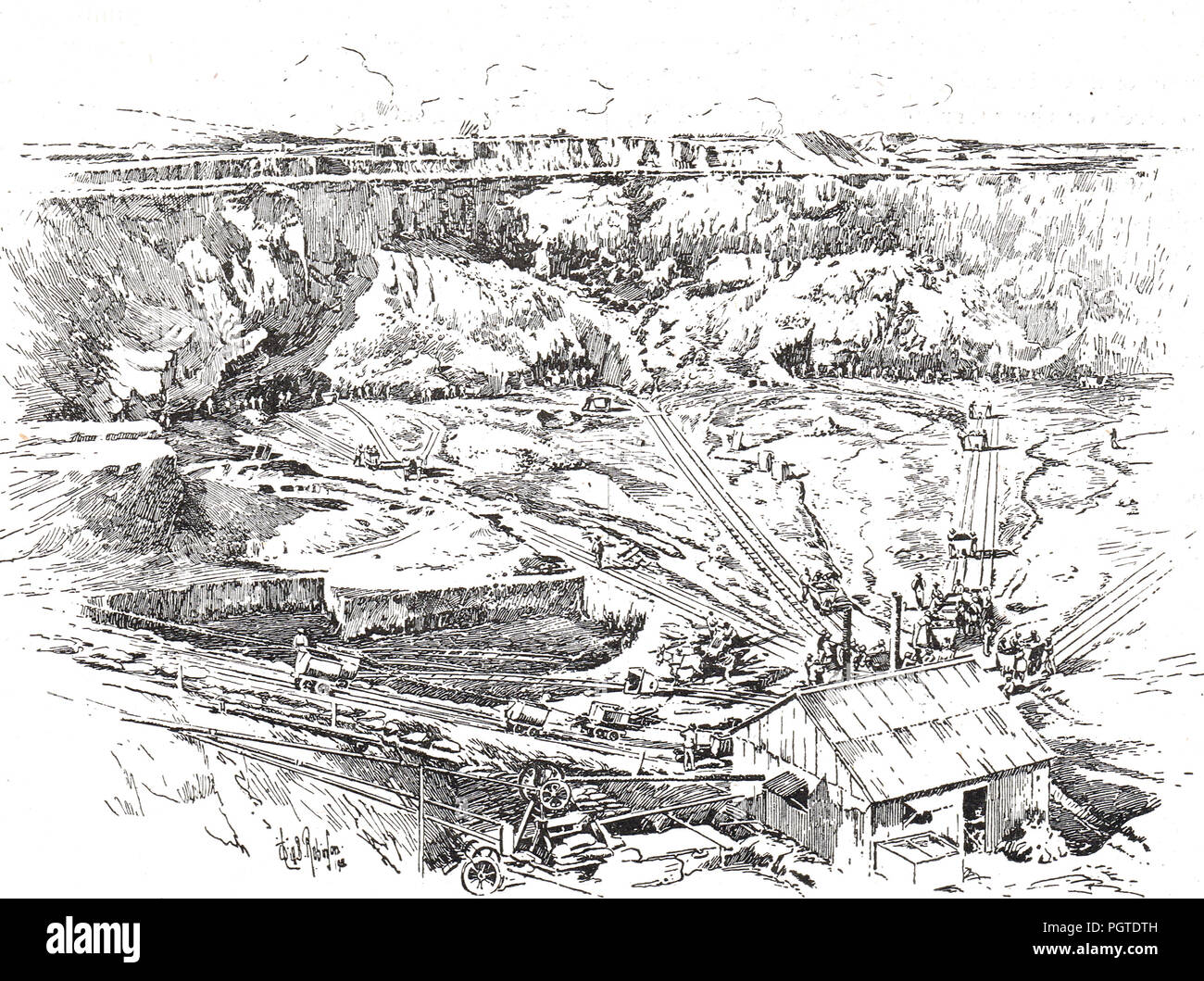 A diamond mine in Kimberley, Northern Cape, South Africa, circa 1900.  Location of  the Siege of Kimberley which took place during the Second Boer War - Stock Image