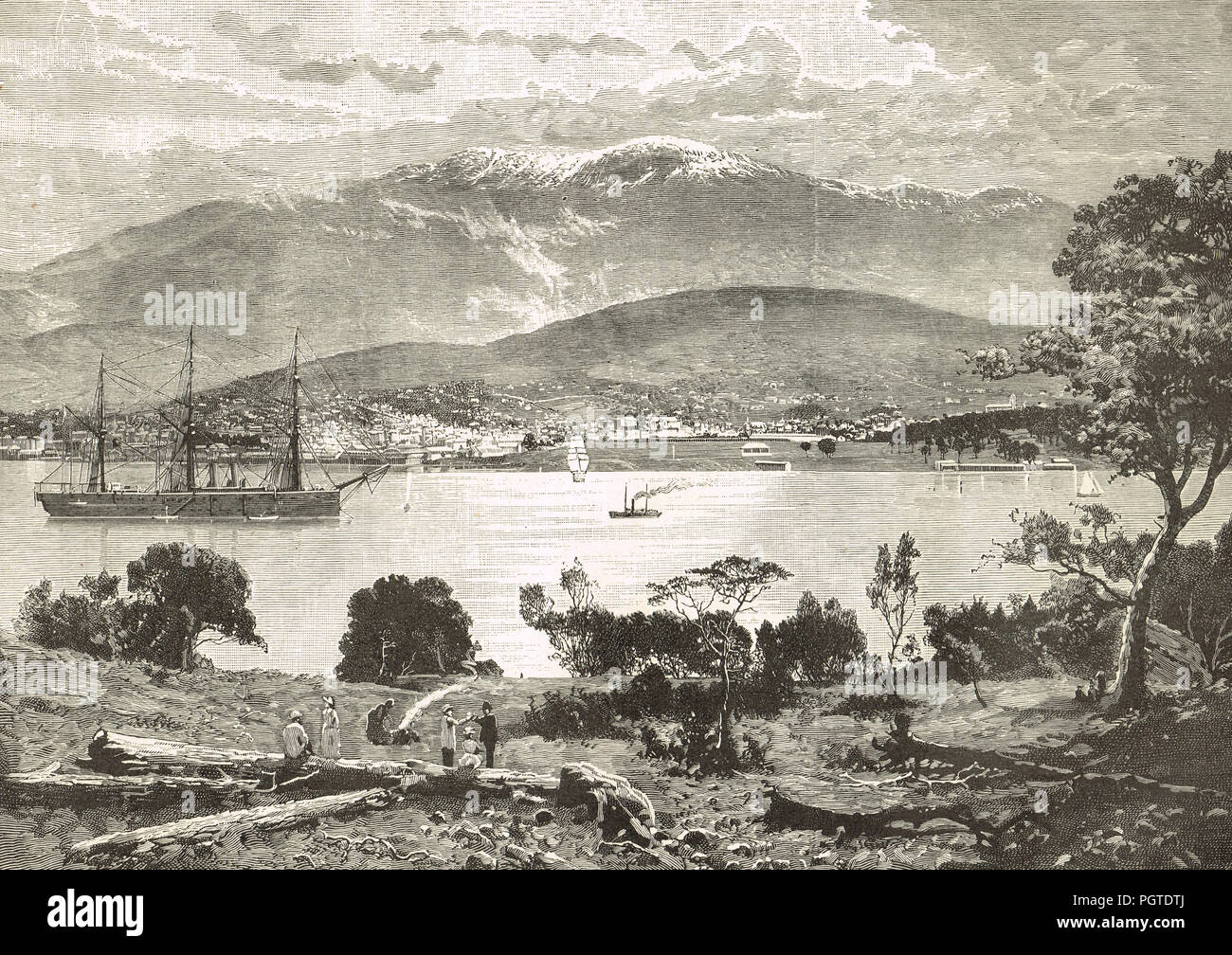 Hobart, Tasmania, circa 1900, departure point for Tasmanian Mountain infantry and Bushmen during the Second Boer War - Stock Image