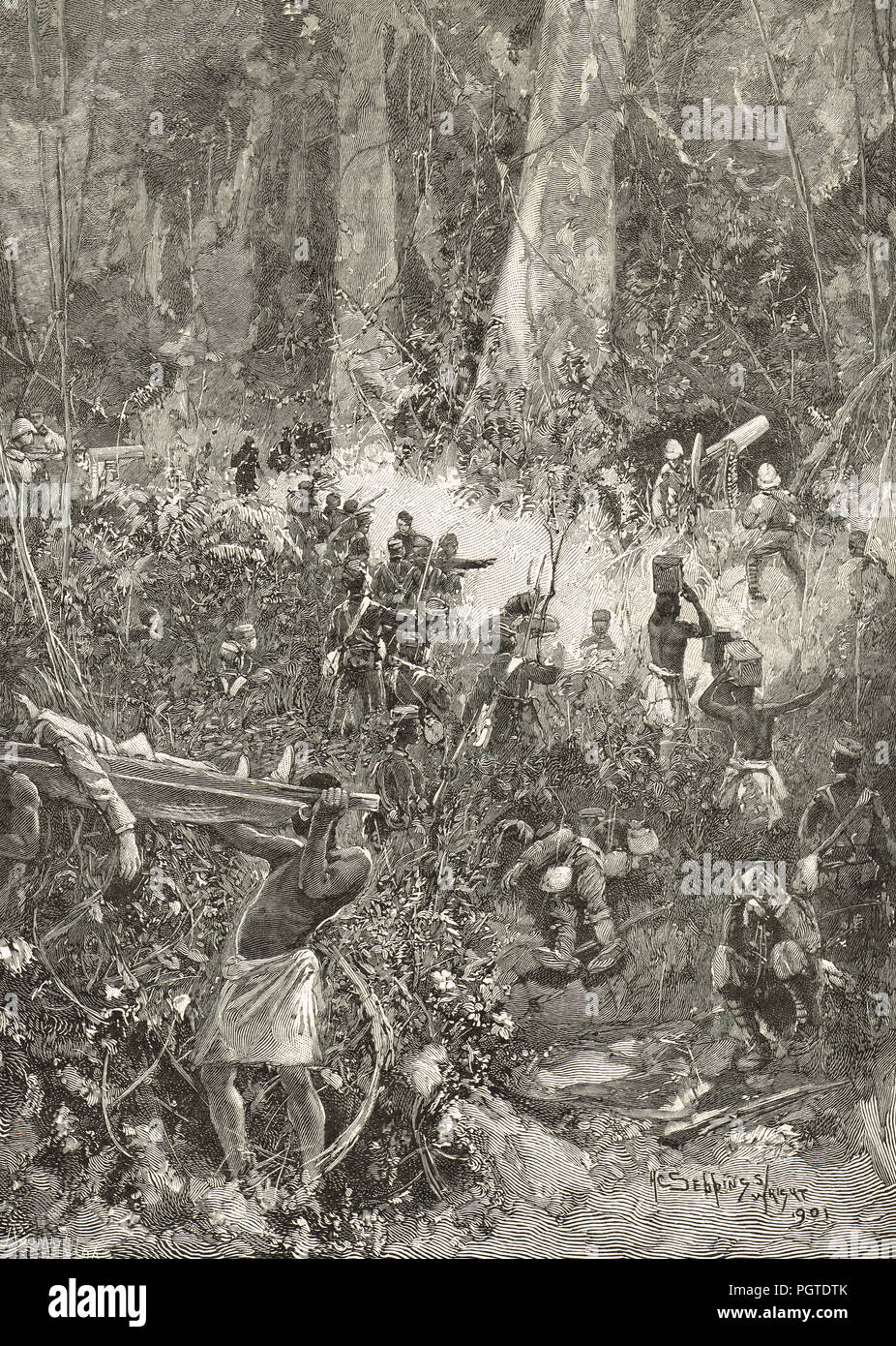 A fight in the Forest , Ashanti war of 1900,  5th Anglo-Ashanti war, also known as the War of the Golden Stool - Stock Image