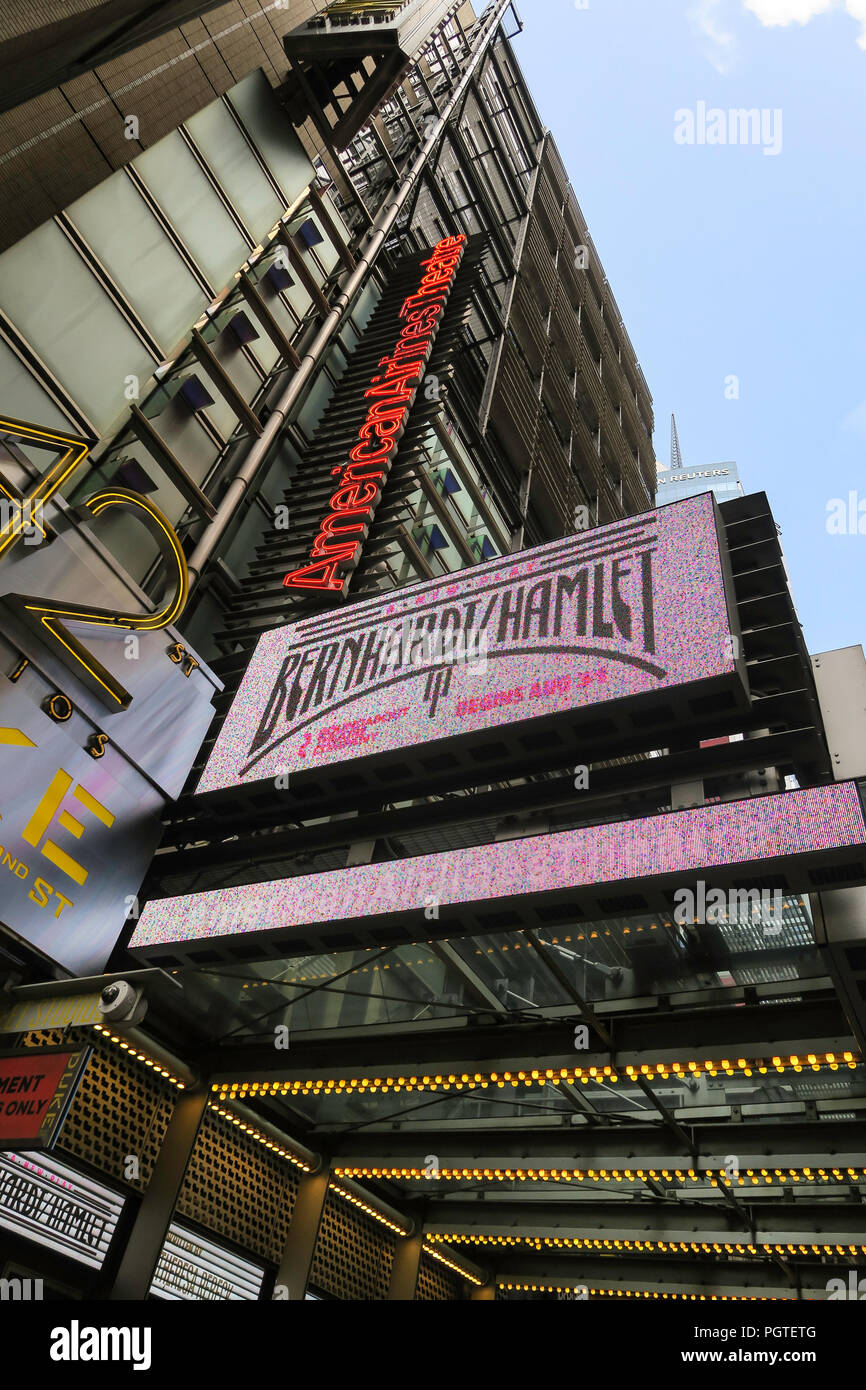 Marquee signage ,Bernhardt/Hamlet Play, American Theater, 42nd Street, times Square, NYC, USA - Stock Image