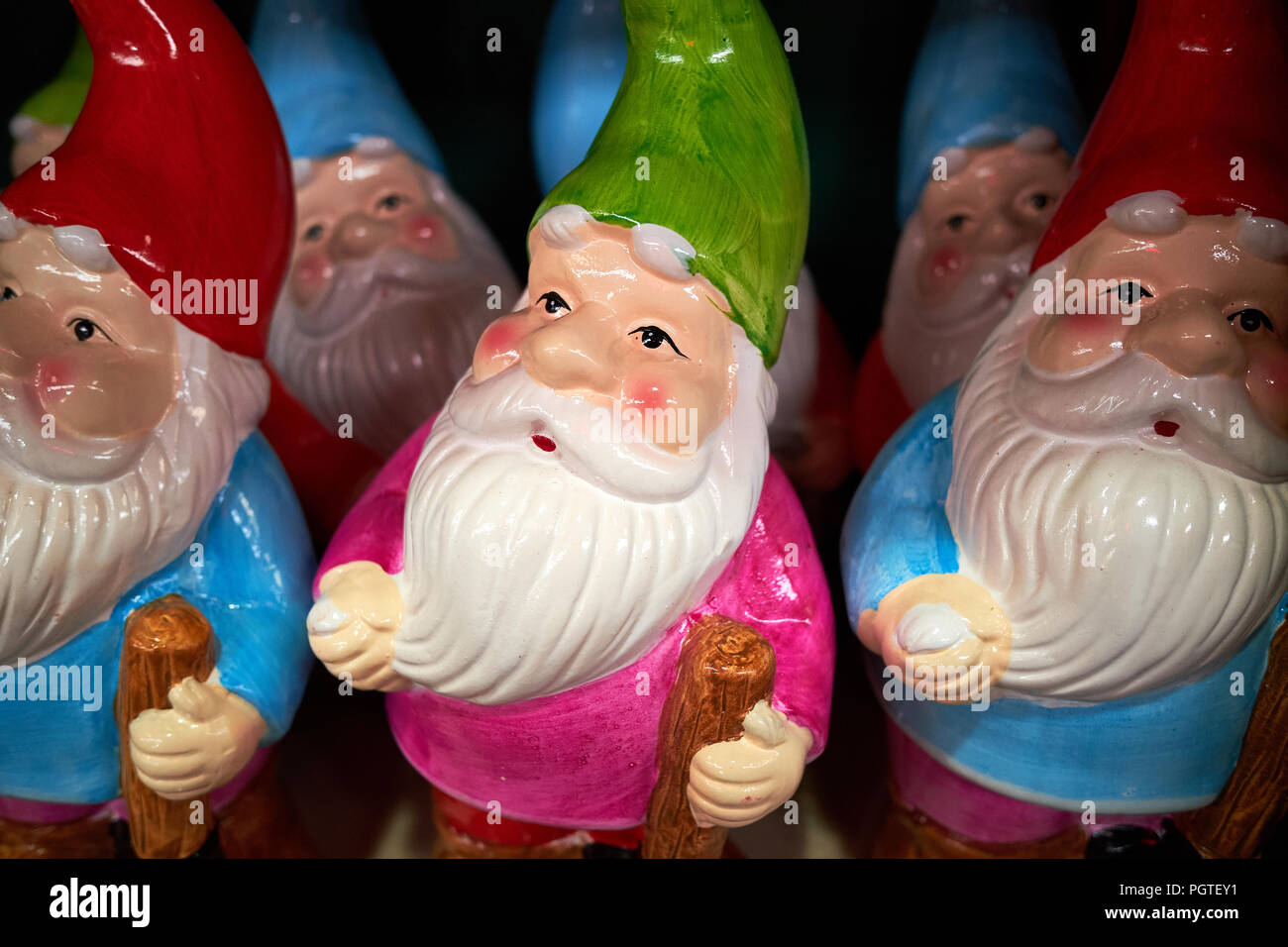 A number of garden gnomes in rows on a shelf - Stock Image