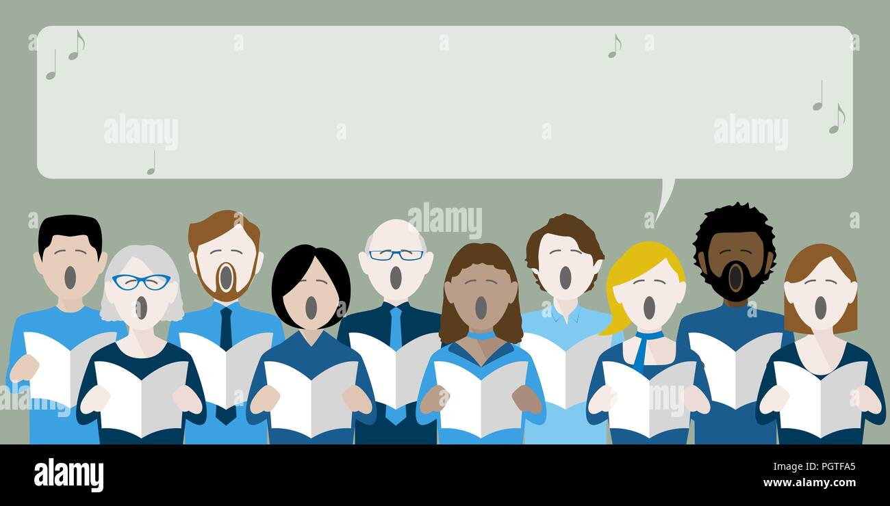 diverse group of choir singers with speech bubble for text - Stock Vector