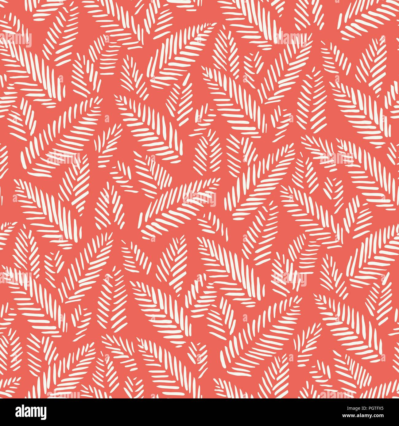 White hand drawn abstract herringbone leaves on red