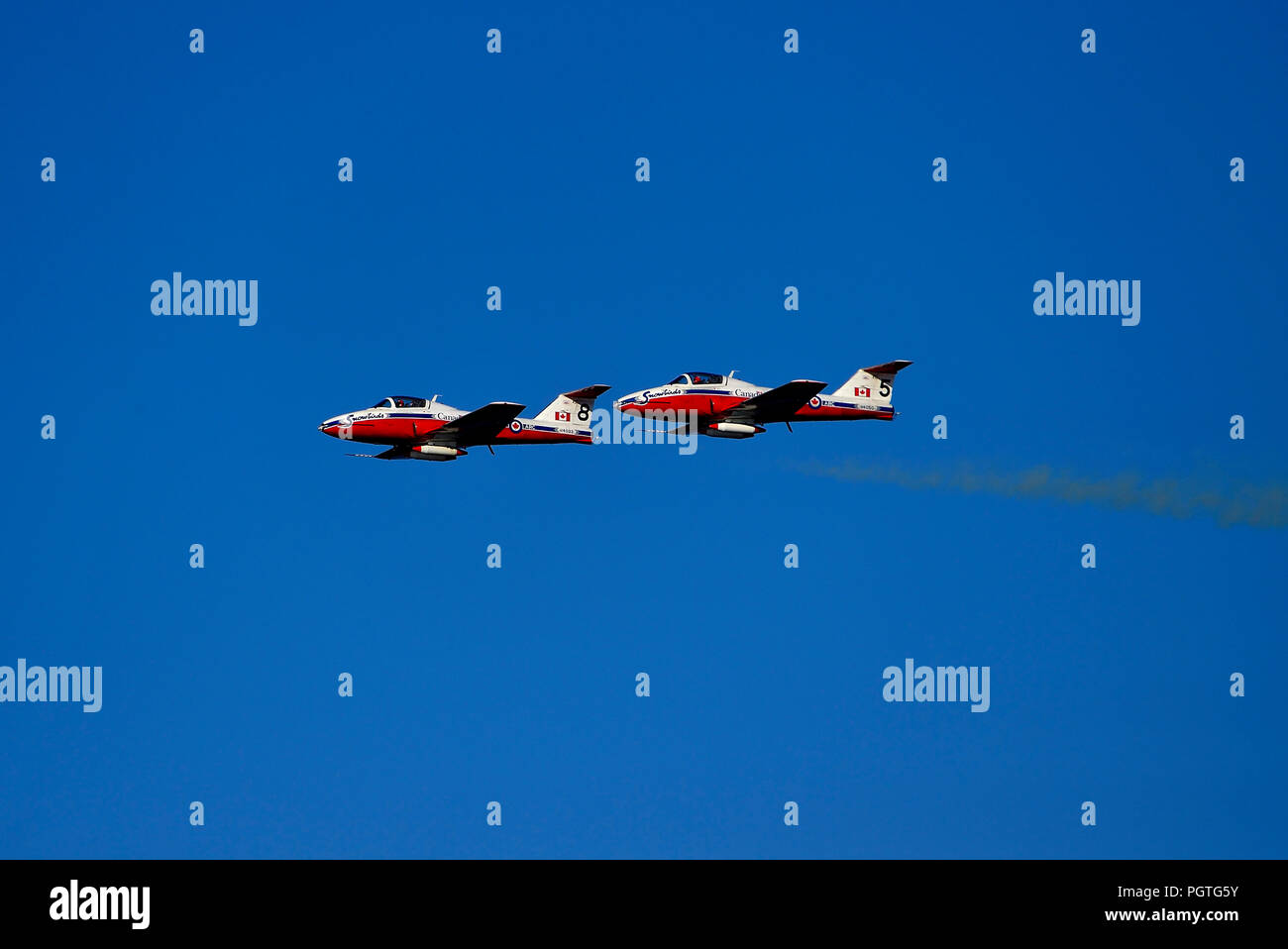 Two Canadian Snowbirds from Squadron 431 flying CT-114 Tudor jet airplanes do a fly-by at an air show over Nanaimo harbour on Vancouver Island British Stock Photo