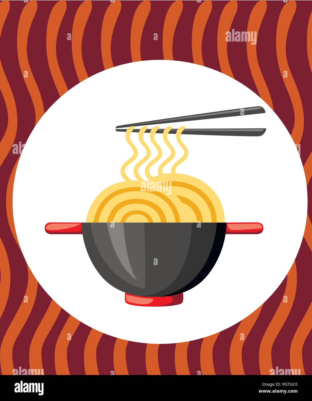 Black bowl with noodles and chopstick. Red handles. Flat vector illustration on textured background. Colorful icon for fast food restaurants. - Stock Vector