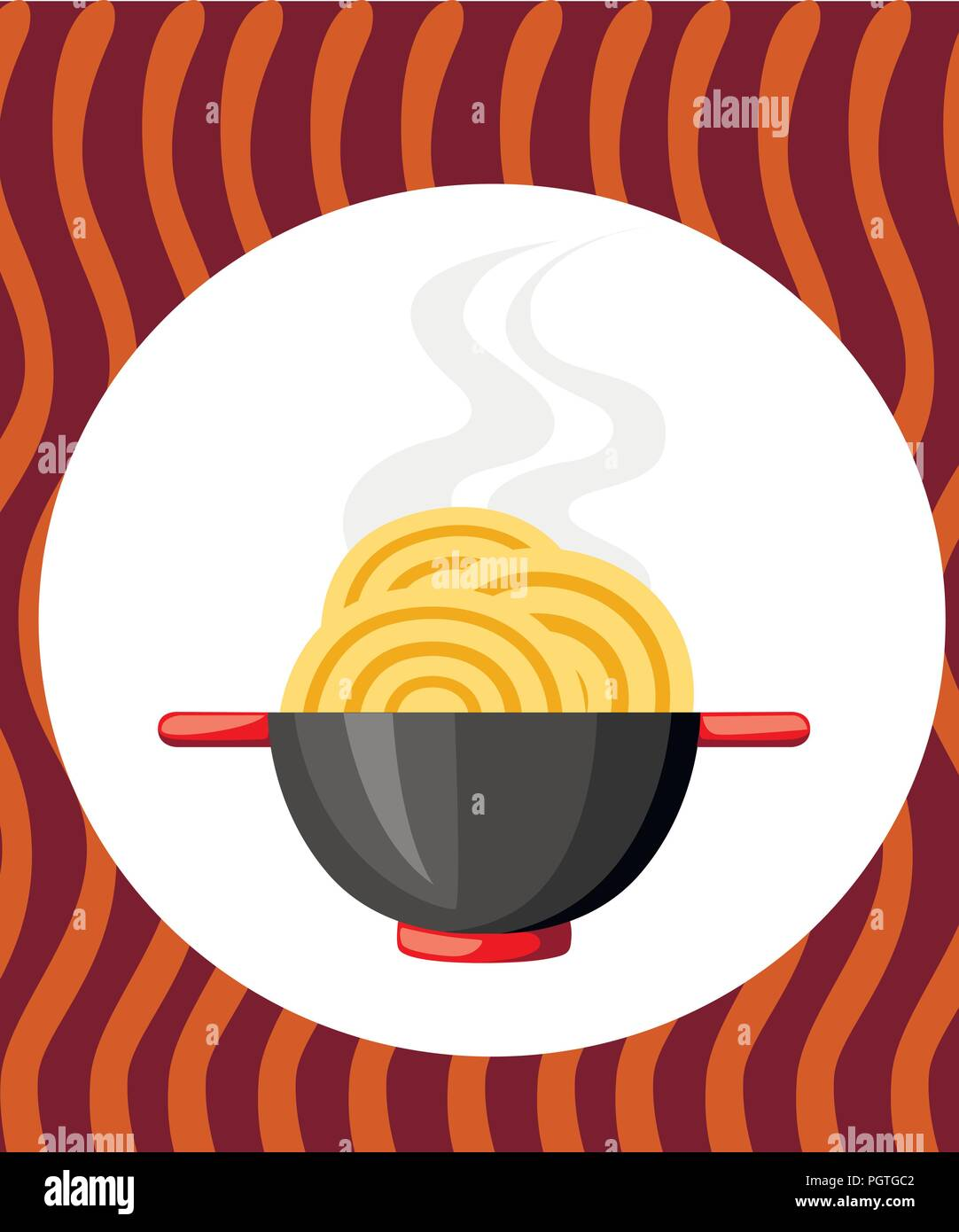 Black bowl with noodles. Red handles. Flat vector illustration on textured background. Colorful icon for fast food restaurants. - Stock Vector