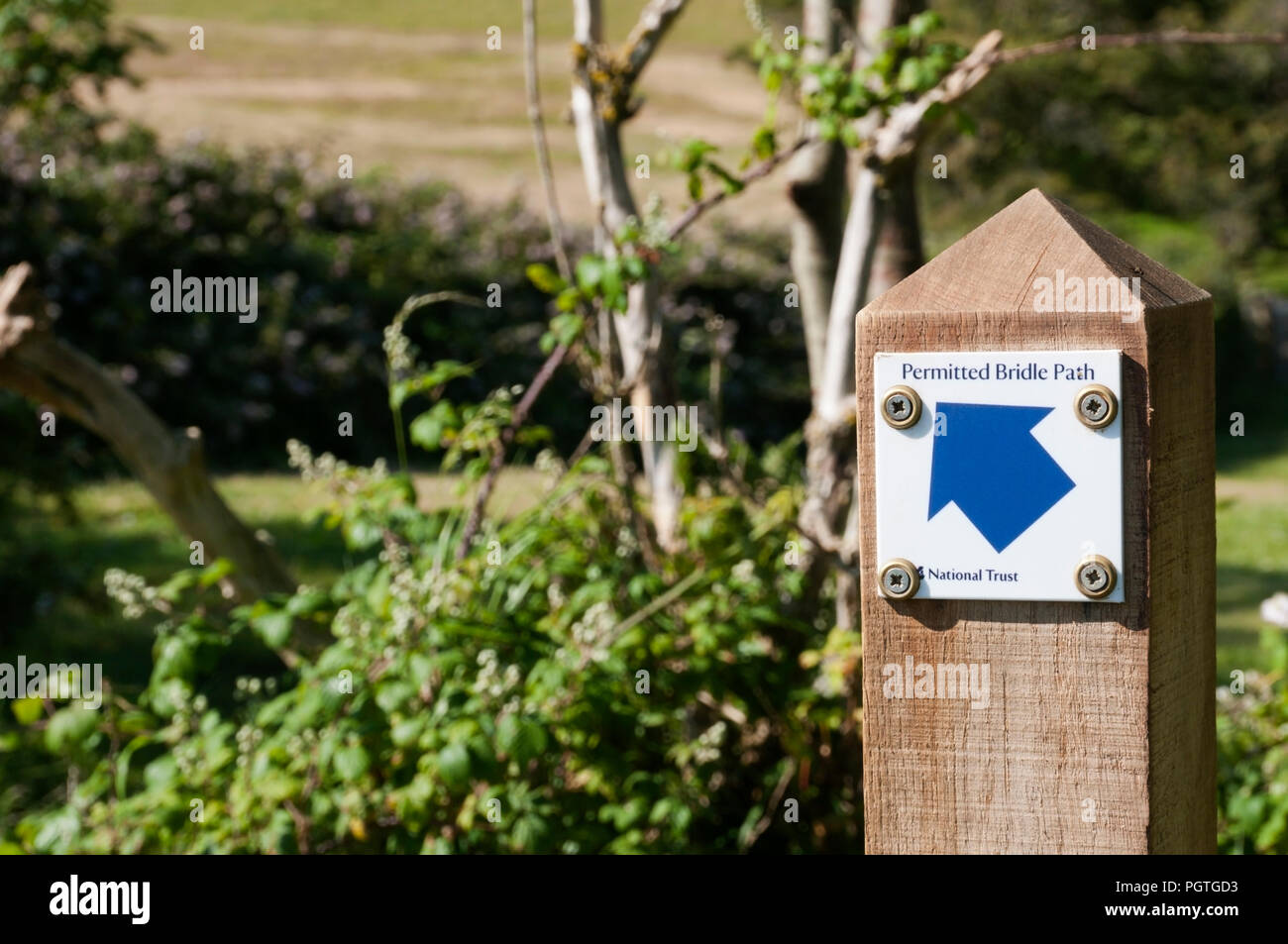 A sign on a wooden post shows an arrow pointing to a Permitted Bridle Path. - Stock Image