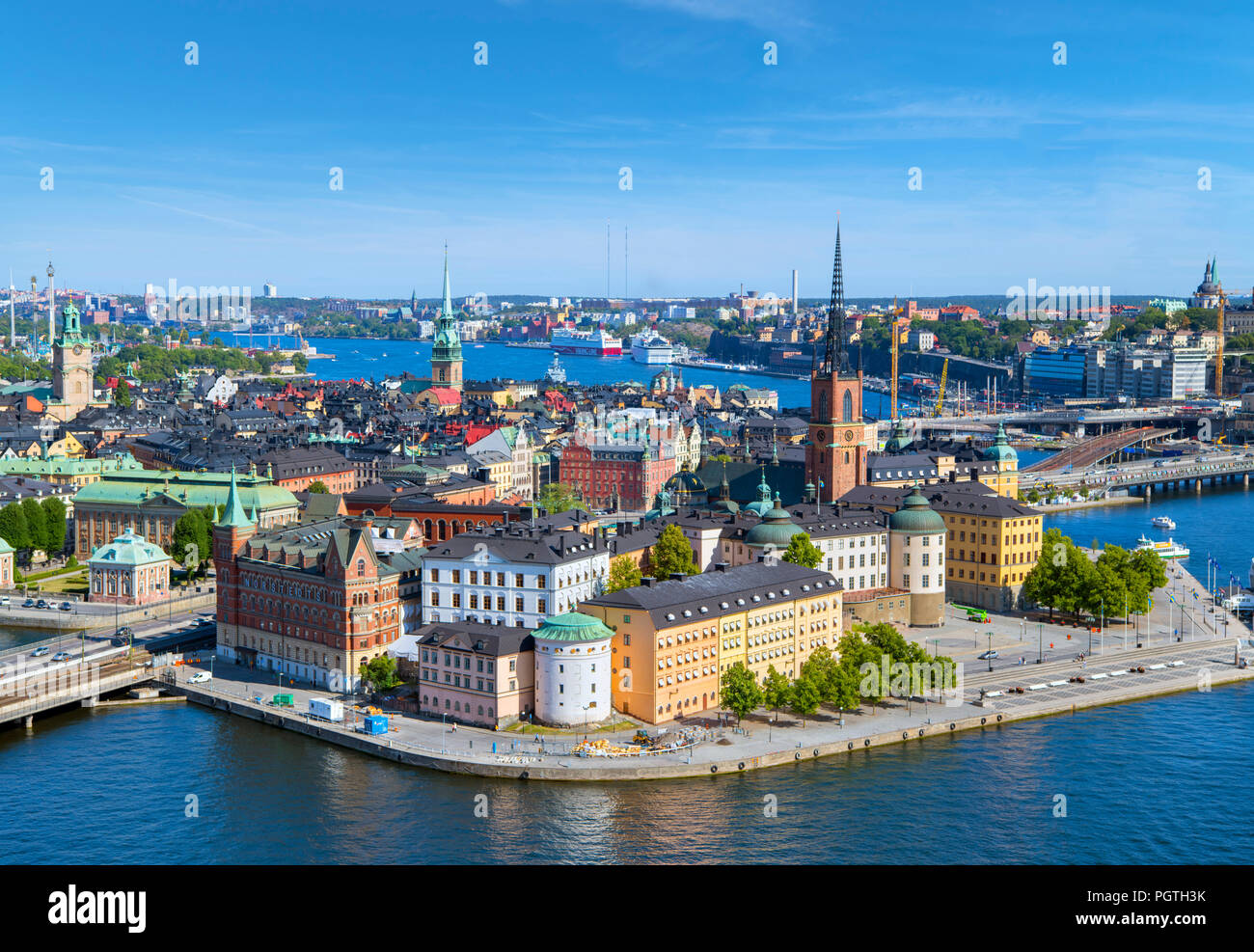 Stockholm. Aerial view of Riddarholmen and Gamla Stan (Old Town) from the Tower of Stockholm City Hall (Stadshuset), Kungsholmen, Stockholm, Sweden - Stock Image