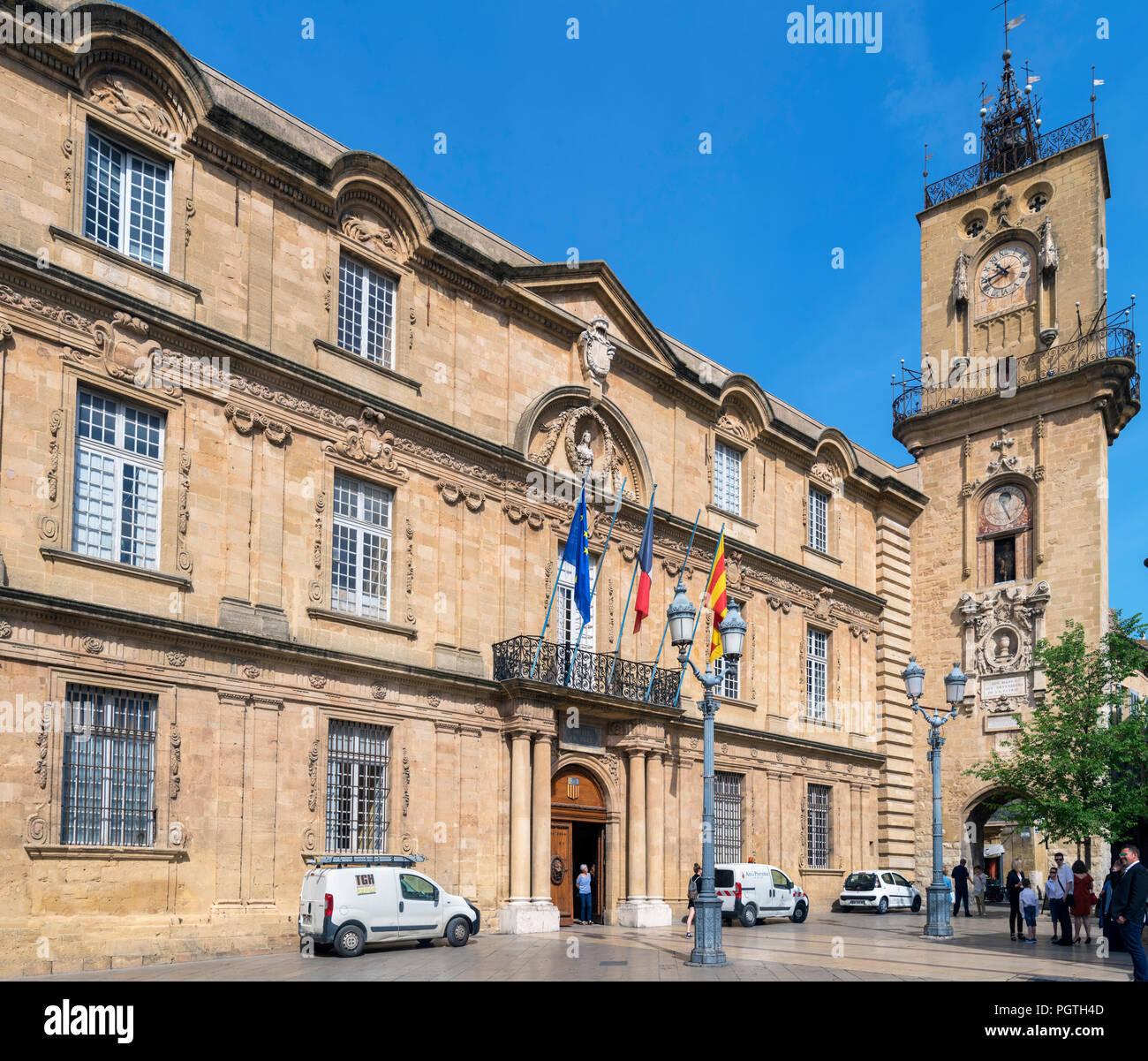 Town Hall in Place de l'Hôtel de ville, Aix-en-Provence, Provence, France - Stock Image