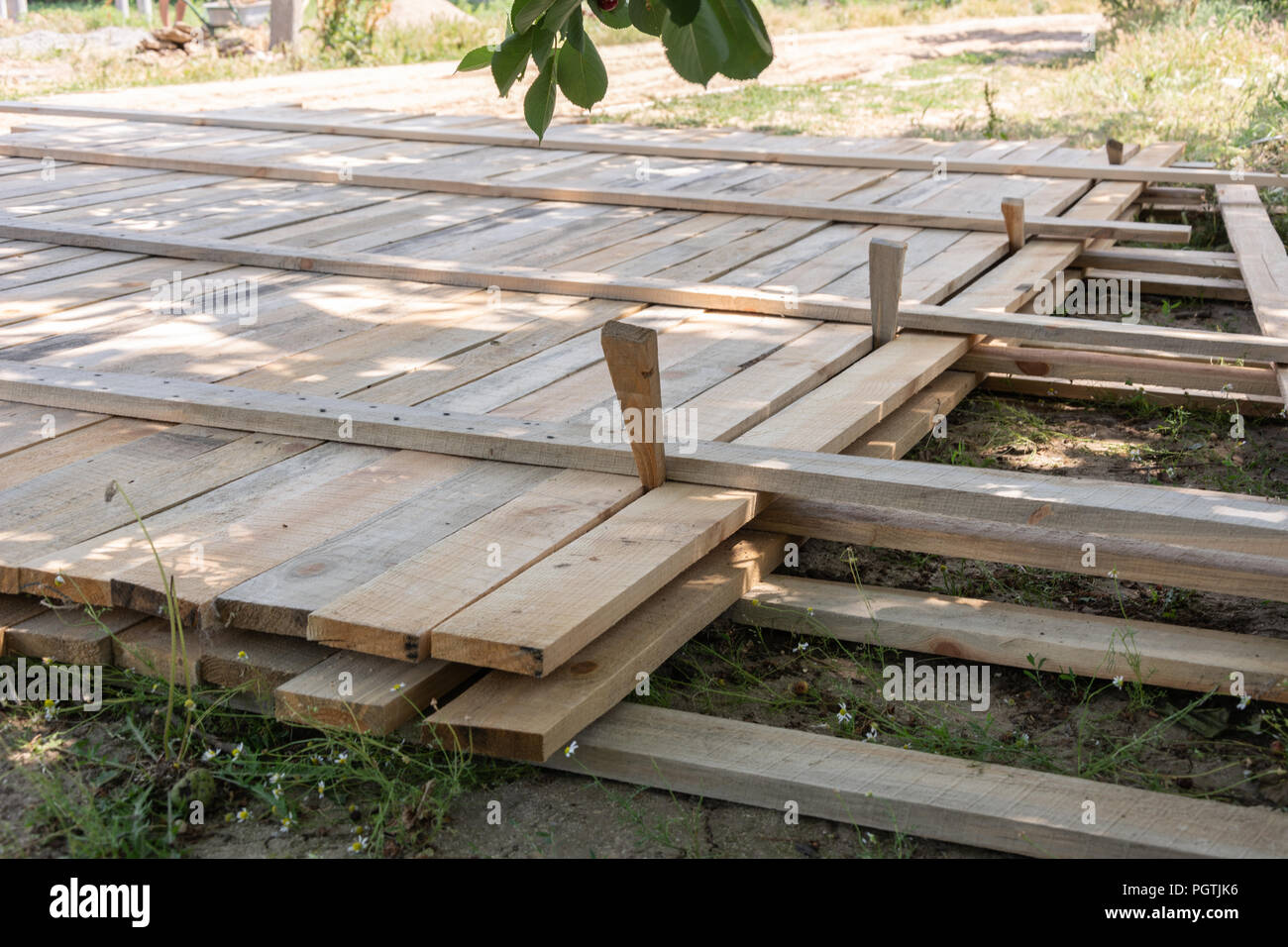 Wooden formwork concrete strip foundation for A-frame type house Stock Photo