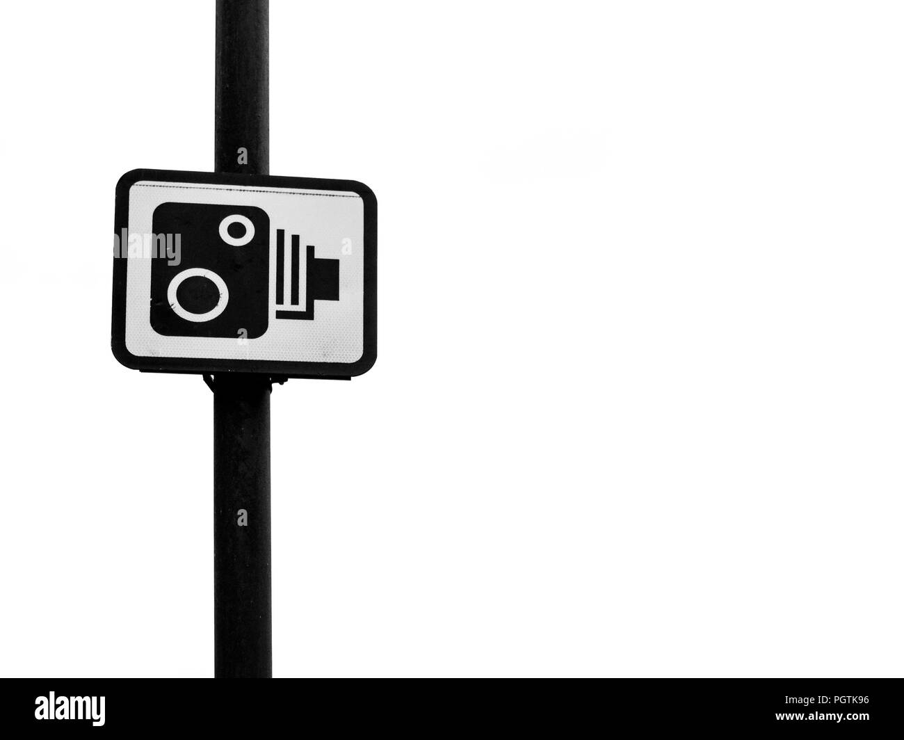 View of a Speed Camera Warning Sign on a Welsh Town Street Stock Photo