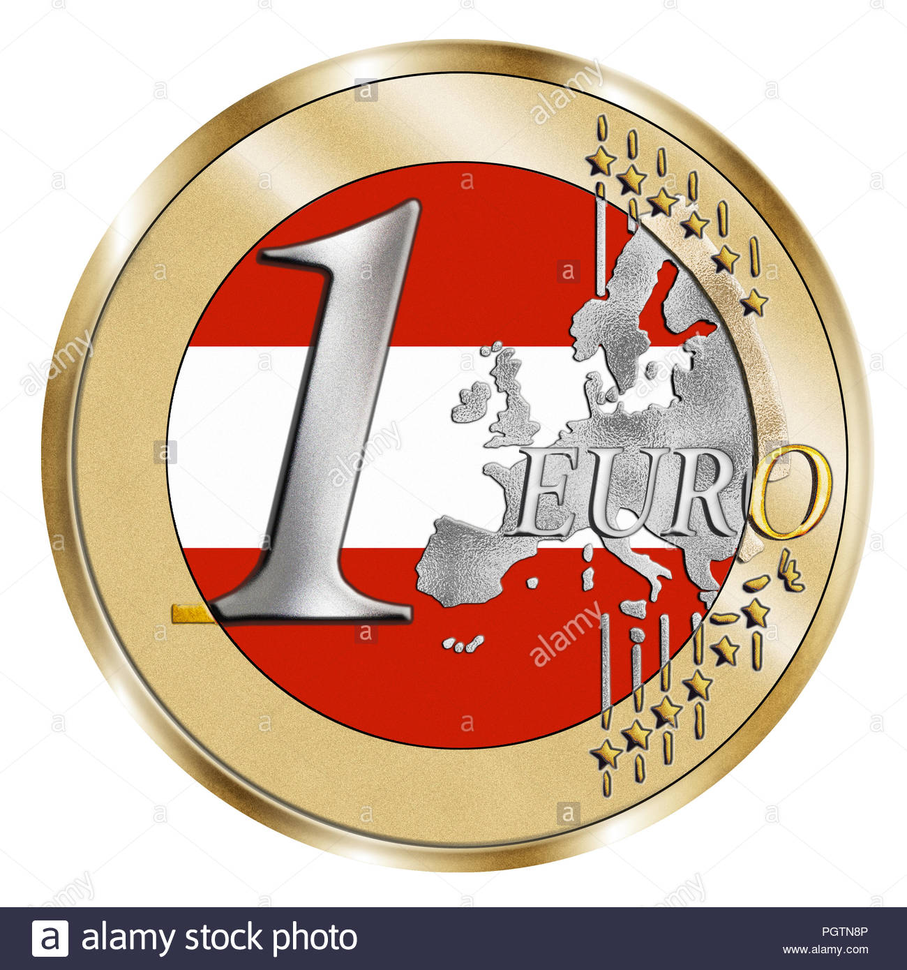 A montage of a stylised 1 Euro coin and an Austrian flag. A Photoshop composite with inlaid grain emphasises the vivid silver and gold effect - Stock Image