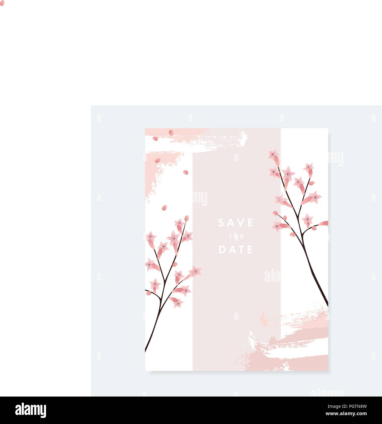 Floral wedding invitation greeting card with pale pink blooming floral wedding invitation greeting card with pale pink blooming flowers and artistic brush stroke texture on white background simple botanical design m4hsunfo