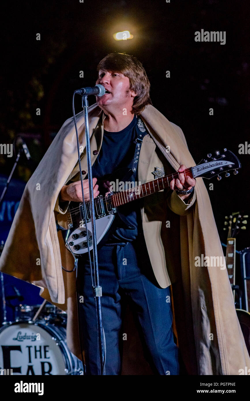 John Lennon impersonator, look alike, The Fab Fourever, Beatles cover band, Edgemont Village, N. VancouverBritish Columbia, Canada - Stock Image