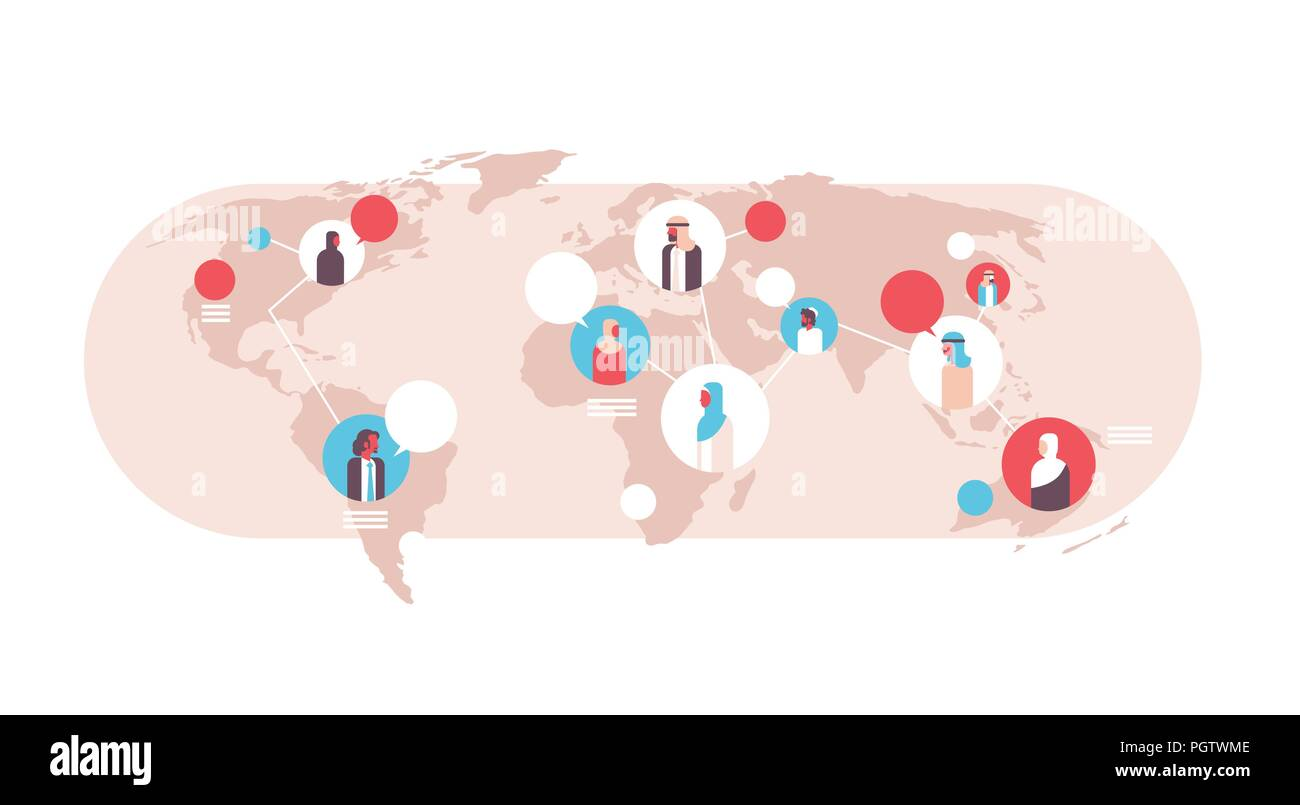 arabian people on world map chat bubbles global communication arabic coworkers connection concept avatar arab man woman faces flat horizontal - Stock Image