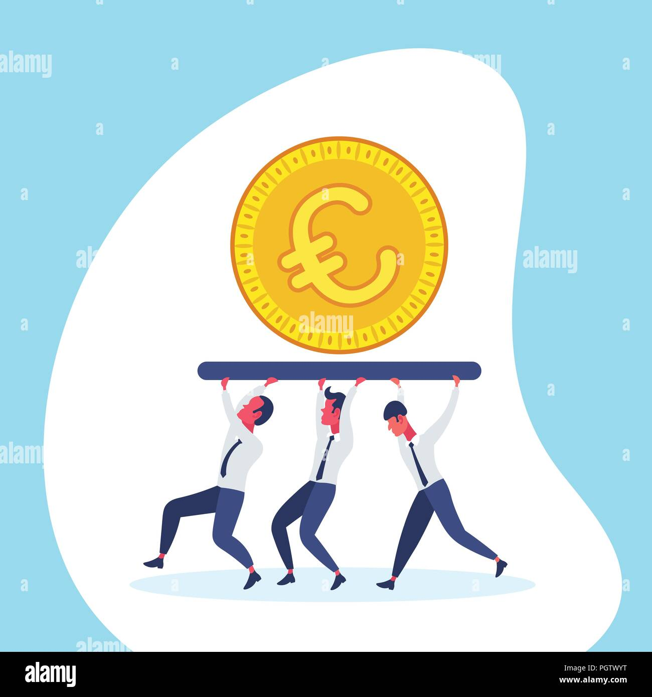 Business People Team Carry Golden Euro Coin Money Wealth Growth