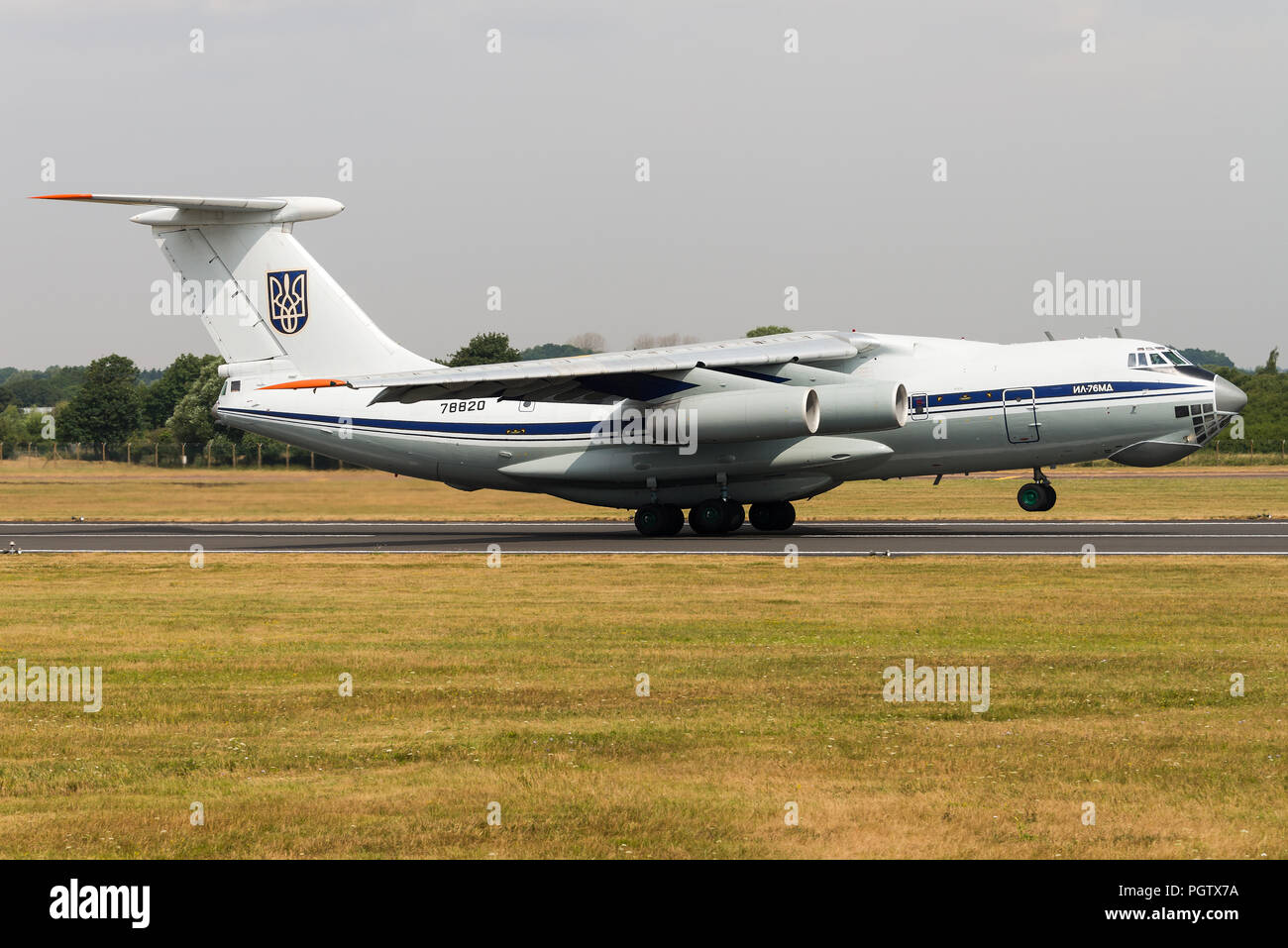 An Ilyushin Il-76 'Candid' military transport aircraft of the Ukrainian Air Force at the Royal International Air Tattoo 2018. - Stock Image