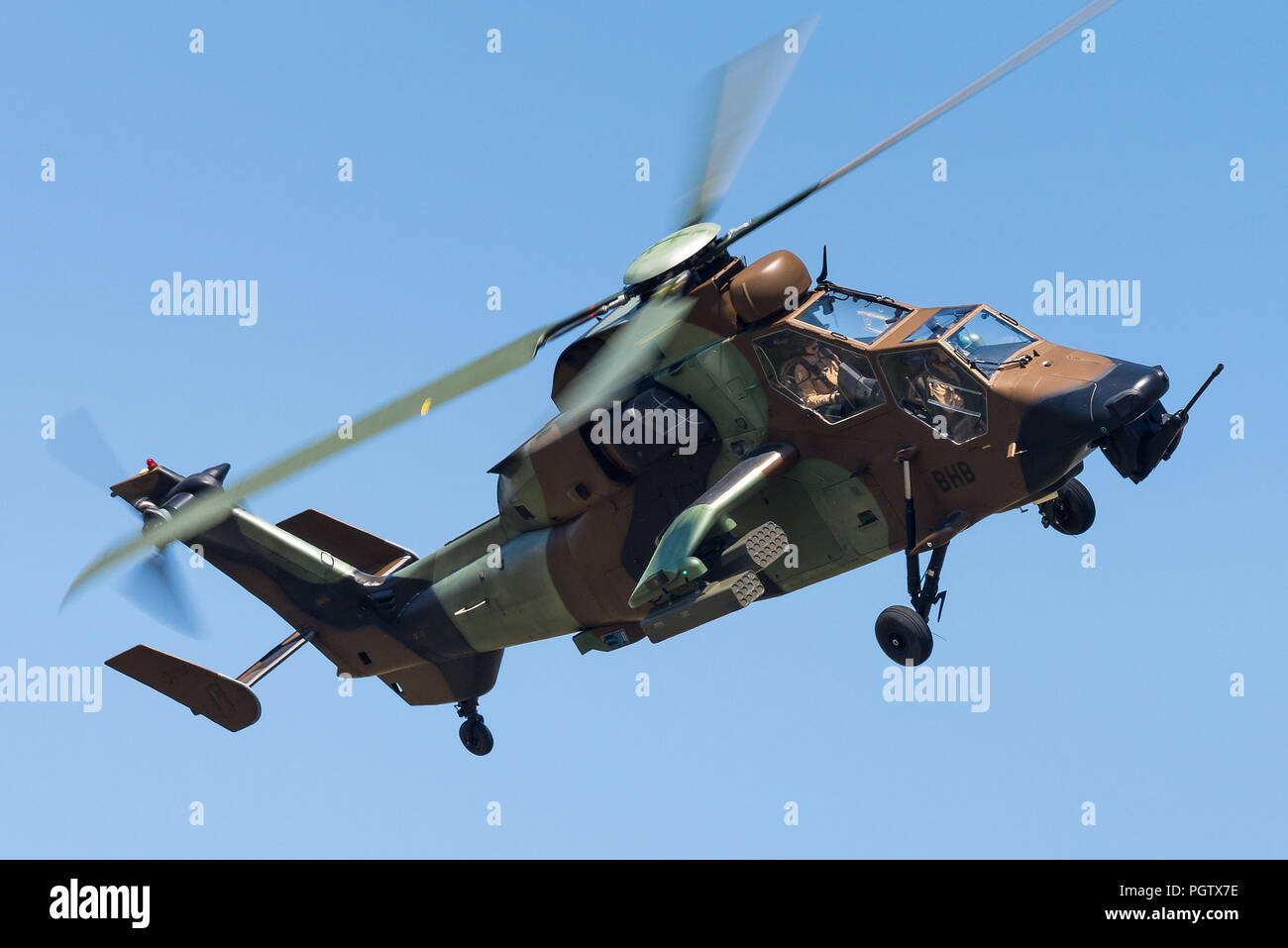 A Eurocopter Tiger attack helicopter from the 5th Combat Helicopter Regimen of the French Army. - Stock Image
