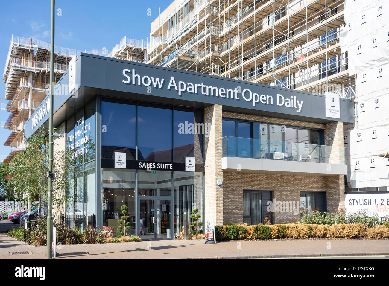 Show apartment office for London Square new-build apartments, London Road, Staines-upon-Thames, Surrey, England, United Kingdom - Stock Image