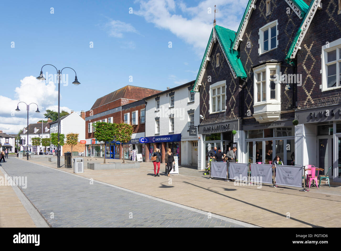 Pedestrianised High Street, Bromsgrove, Worcestershire, England, United Kingdom - Stock Image
