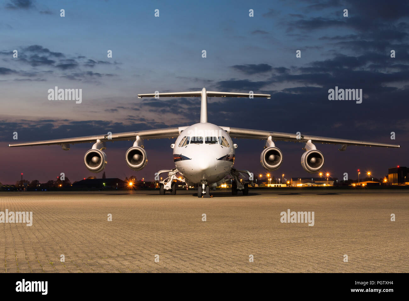 A British Aerospace 146 passanger and VIP aircraft from the No. 32 Squadron of the Royal Air Force at the RAF Northolt airbase. - Stock Image