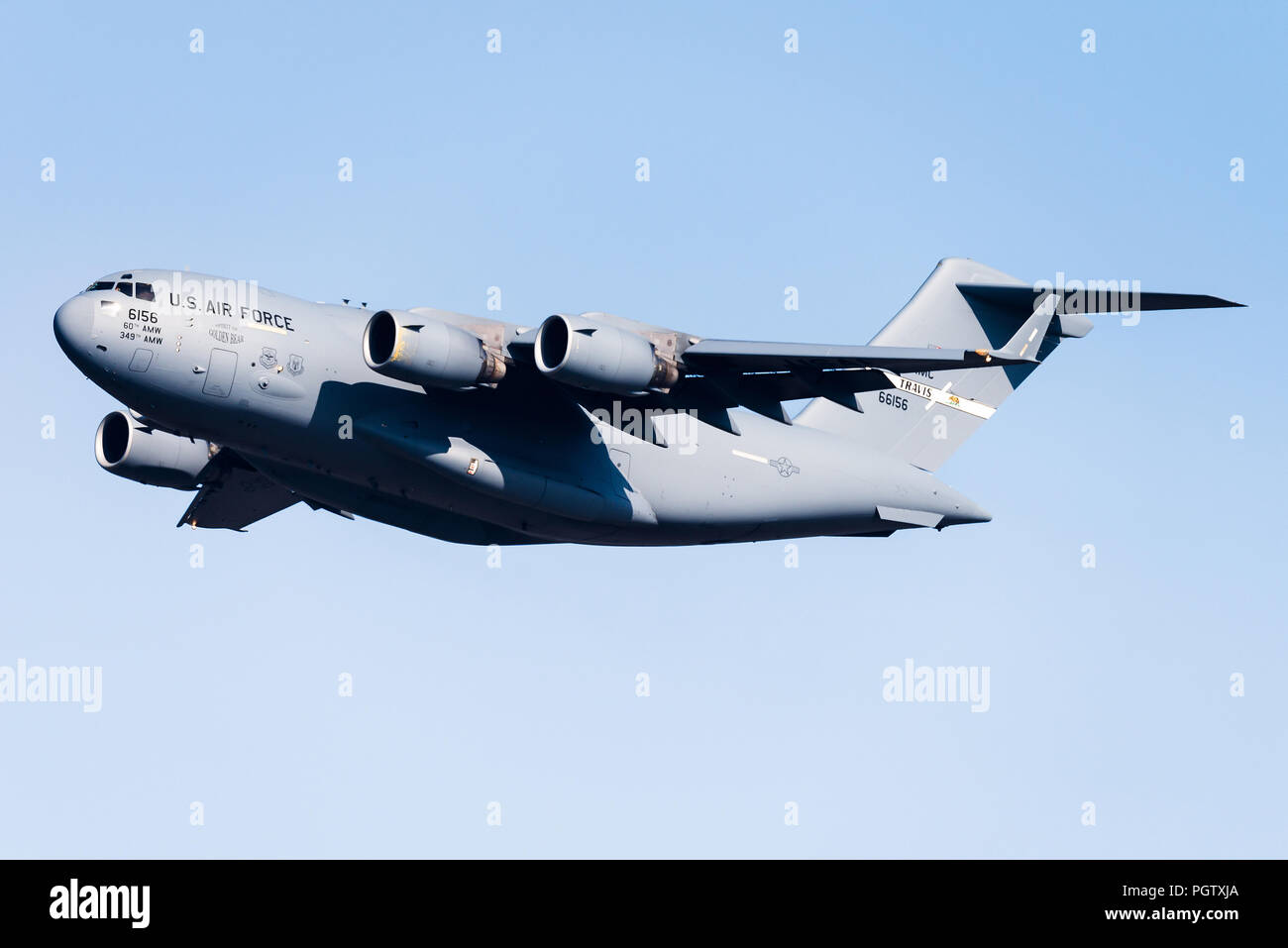 A Boeing C-17 Globemaster III from the 60th Air Mobility Wing of the Unites States Air Force. - Stock Image