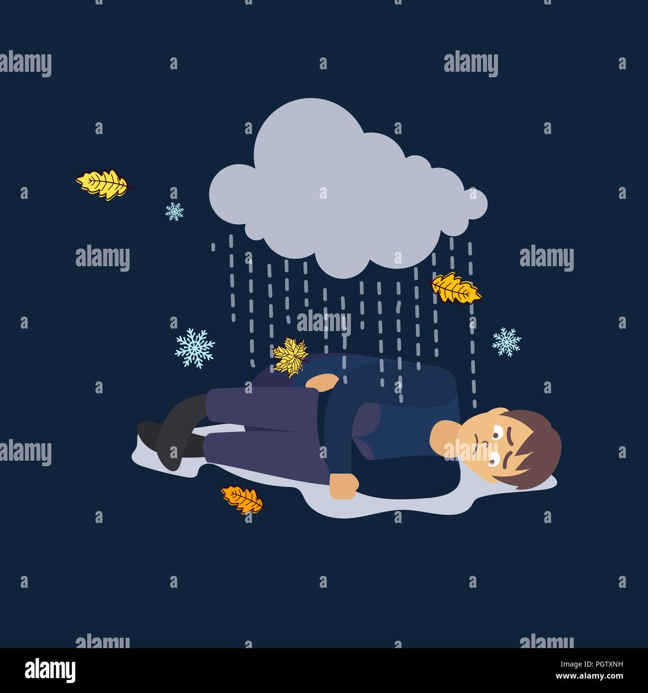 Vector flat cartoon illustration heartbroken alone sad young man guy