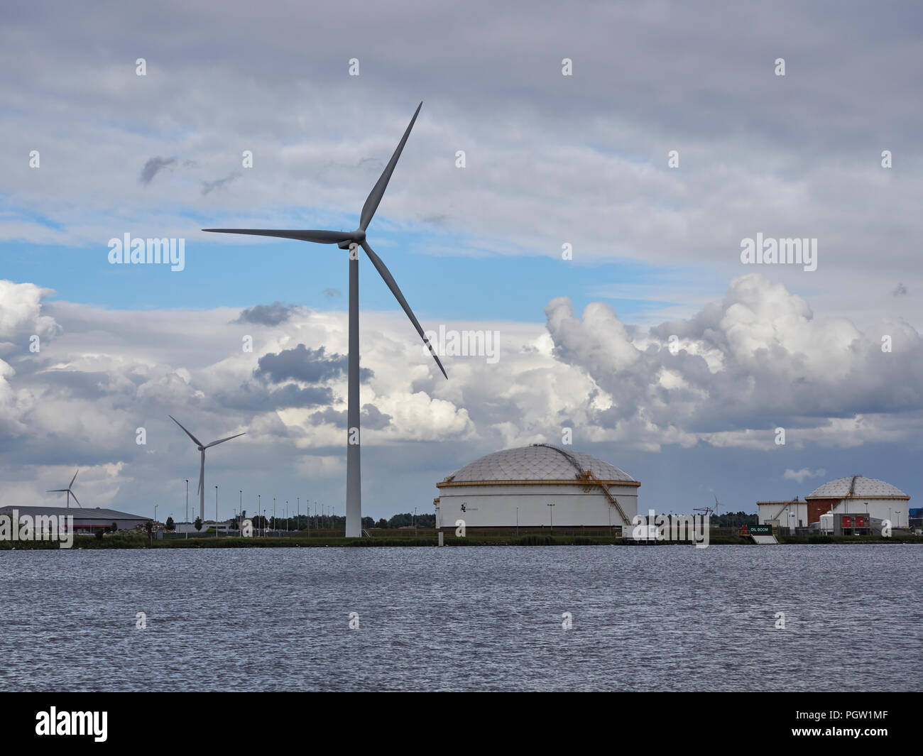 One of the many large Wind Turbines seen at the Container Port at Den Haag near Amsterdam in The Netherlands. - Stock Image