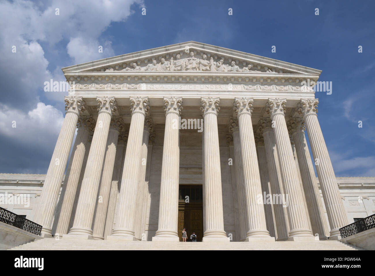 The U.S. Supreme Court building in Washington, D.C., on a sunny afternoon in August. - Stock Image
