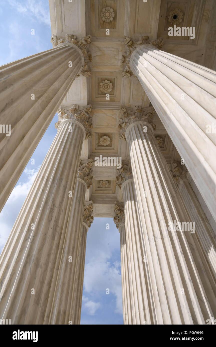 Columns of the U.S. Supreme Court building in Washington, D.C. - Stock Image