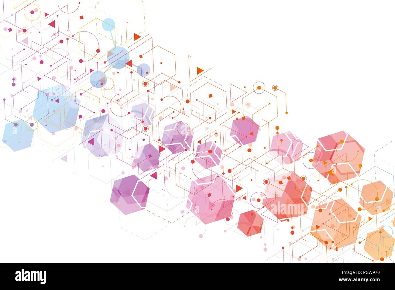 Hexagonal abstract background. Big Data Visualization. Global network connection. Medical, technology, science background. Vector illustration. - Stock Image