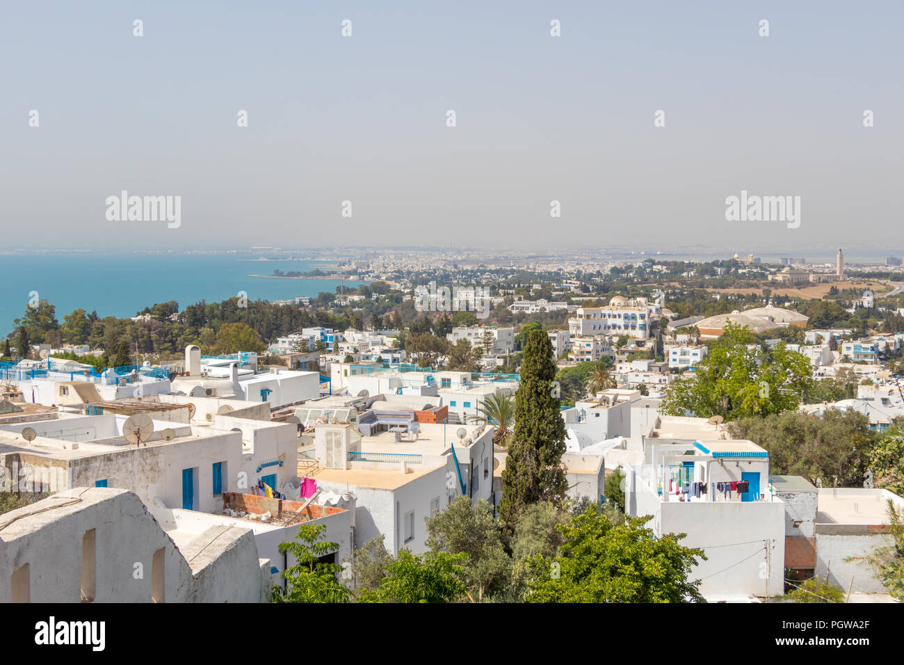 Cityscape with typical white blue colored houses in Sidi Bou Said,Tunisia, Africa Stock Photo