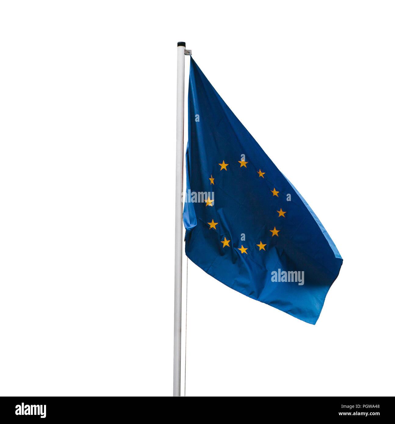 Flag of the European Union on a flagpole isolated on white background. - Stock Image