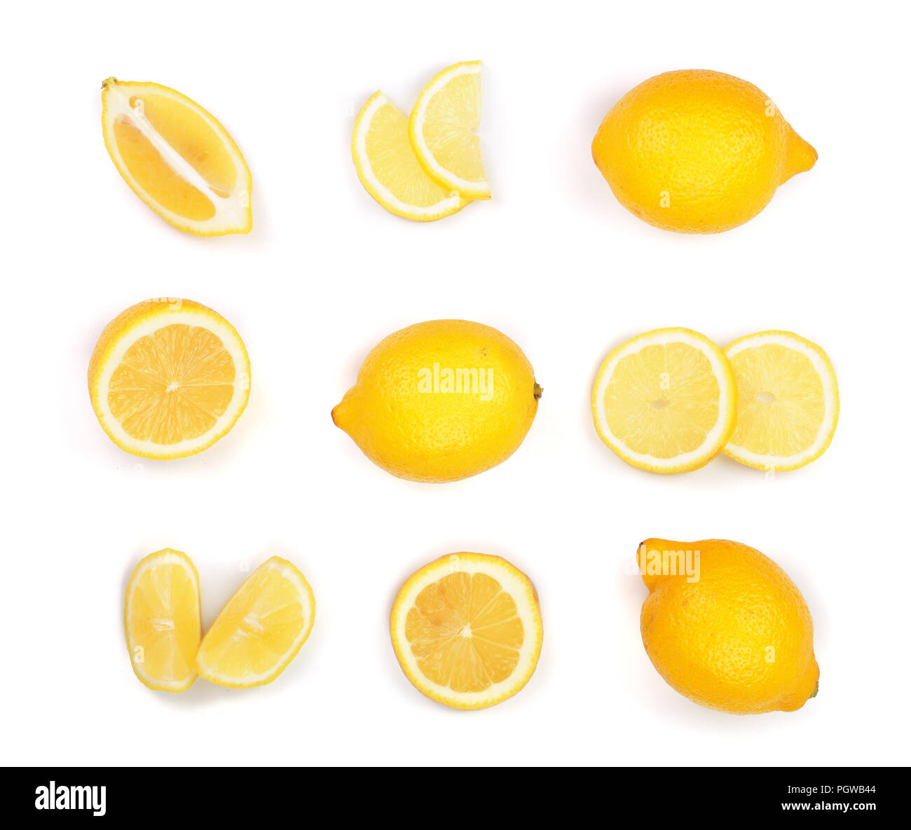 Lemon isolated on white background. Seamless pattern with fruits. Top view. Flat lay Stock Photo