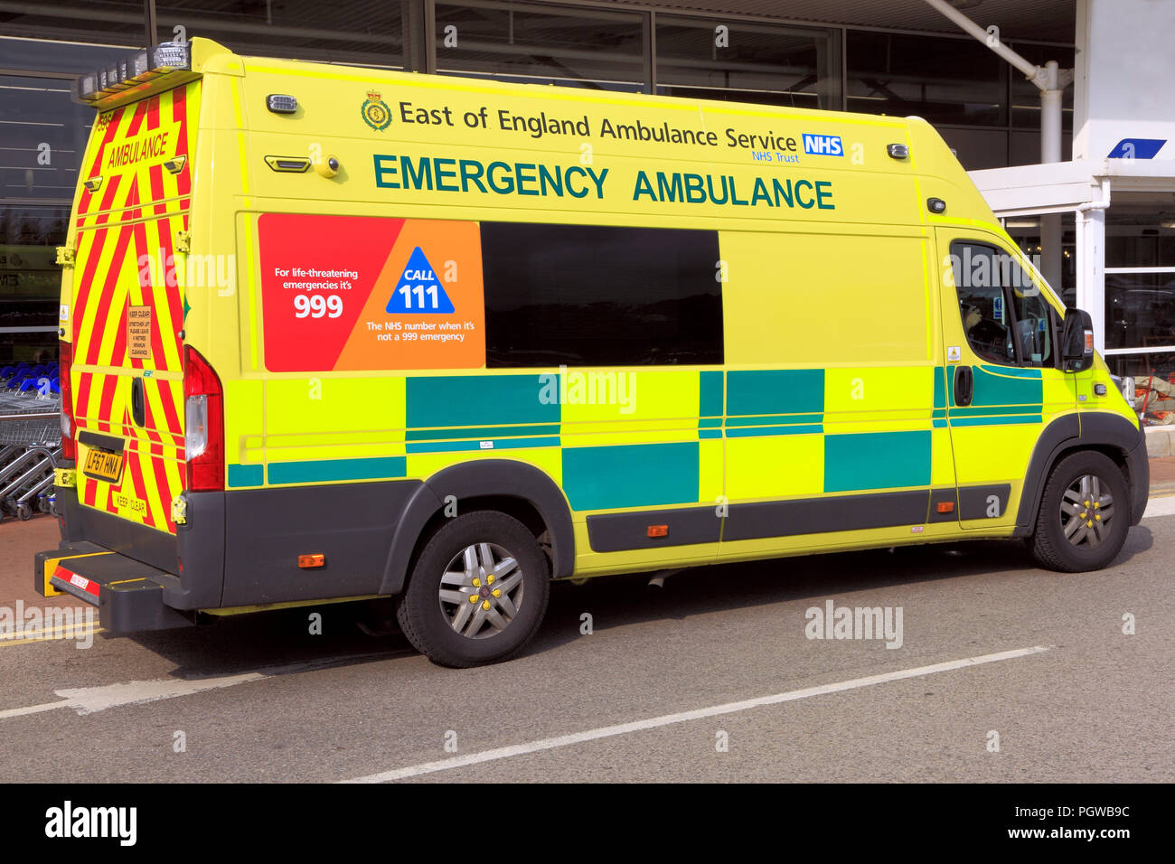 East of England, Emergency, Ambulance, Service, vehicle, National Health Service, NHS, Norfolk, UK - Stock Image