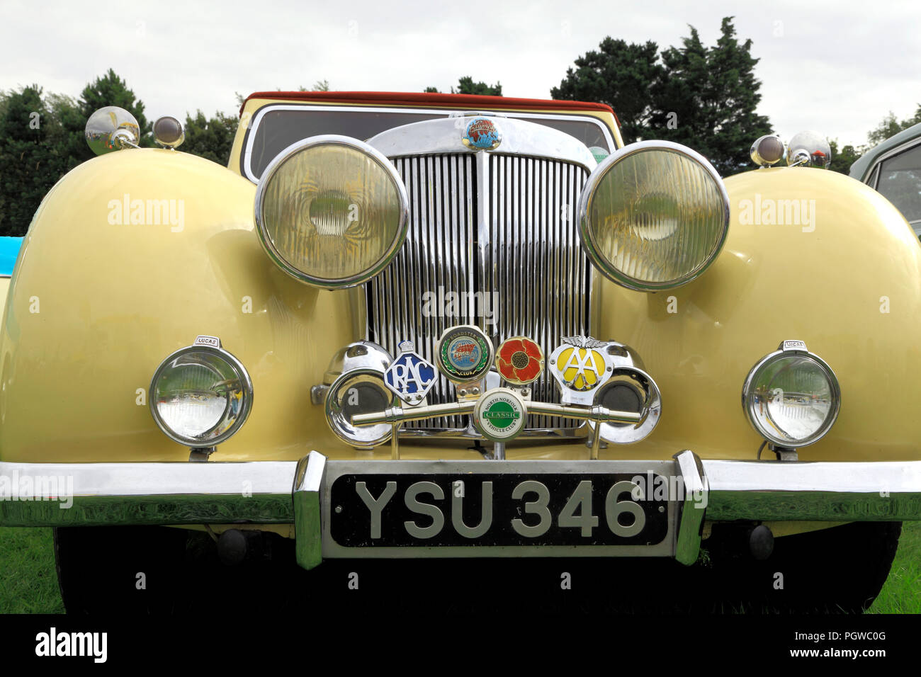 Triumph Roadster, 1949, vintage car, automobile, badges, AA, RAC, Roadster Club, North Norfolk Classic Vehicle Club, detail - Stock Image
