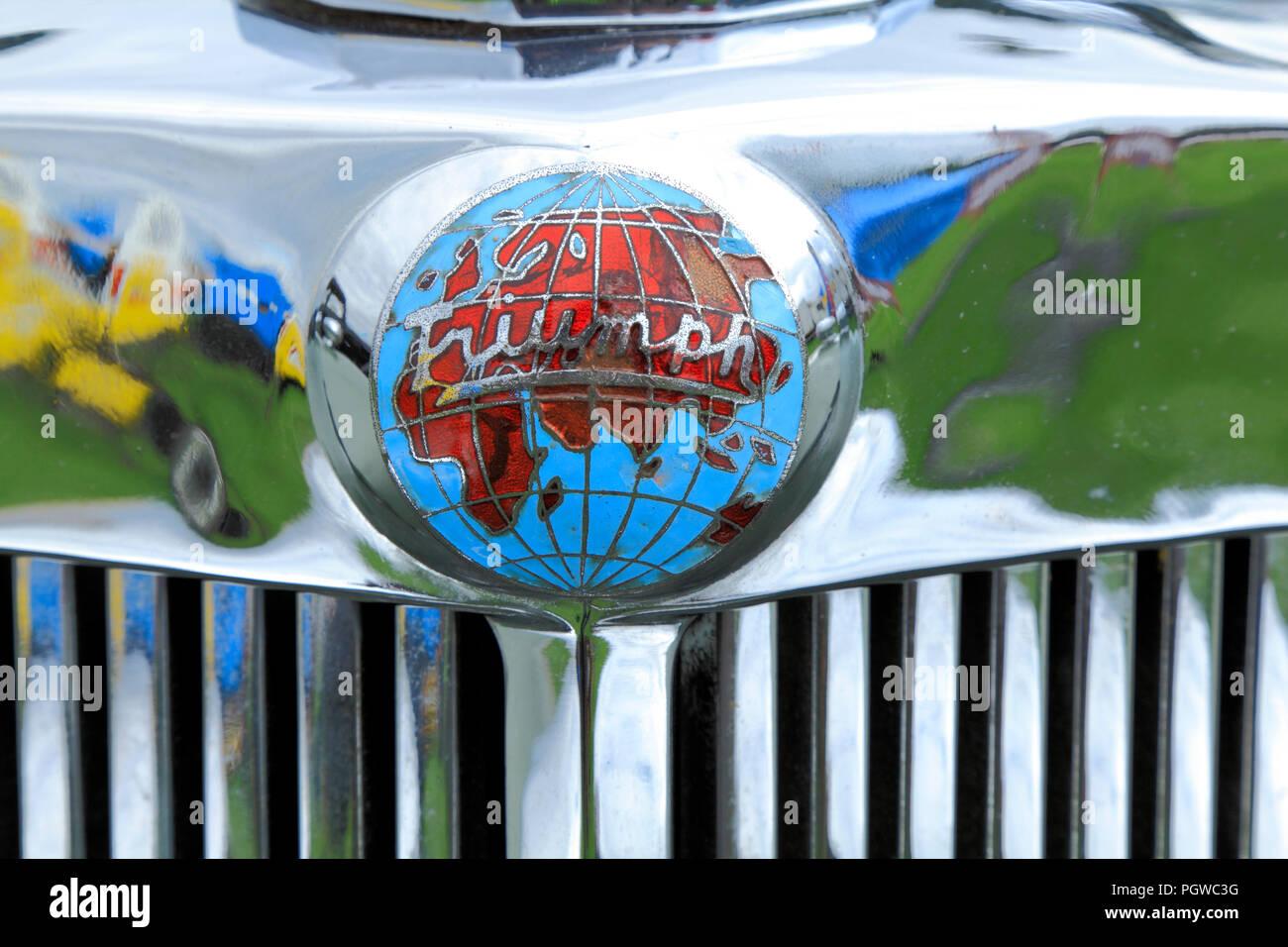 Triumph Roadster, motor car, logo, badge, 1949, vintage, automobile, manufacturer, cars - Stock Image