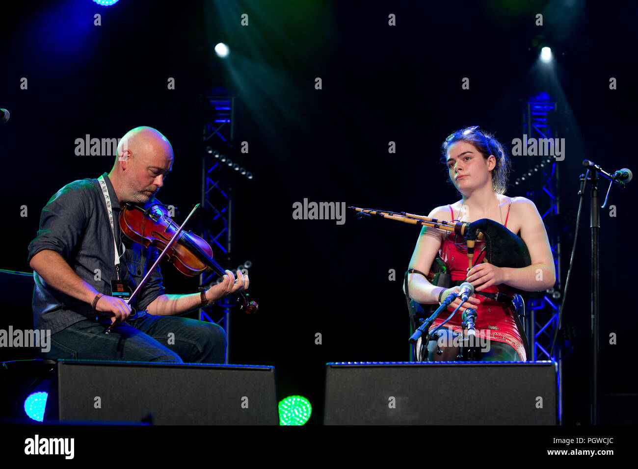 Cambridge UK 3rd august 2018 Brighde Chaimbeul performs on the main stage at Cambridge Folk Festival - Stock Image