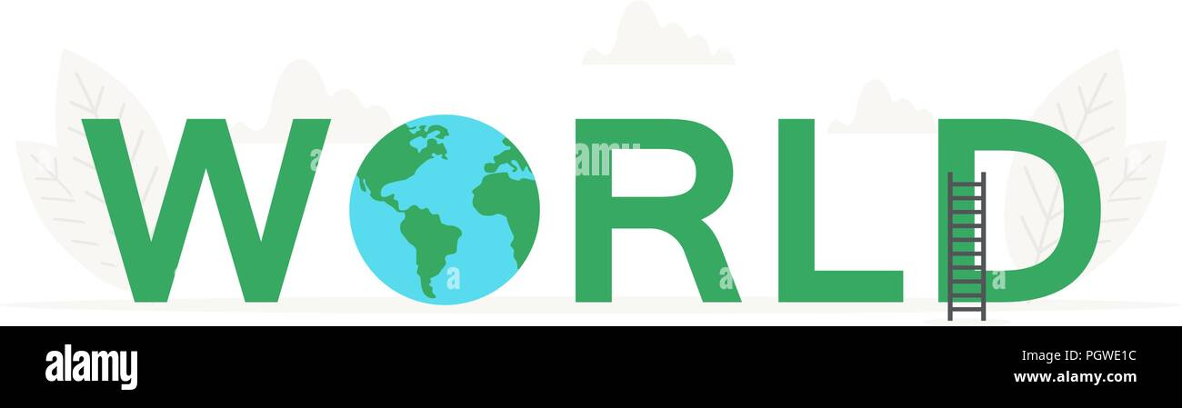 Vector big word World and earth, planet banner for design concept. Illustration for presentations on white background - Stock Image