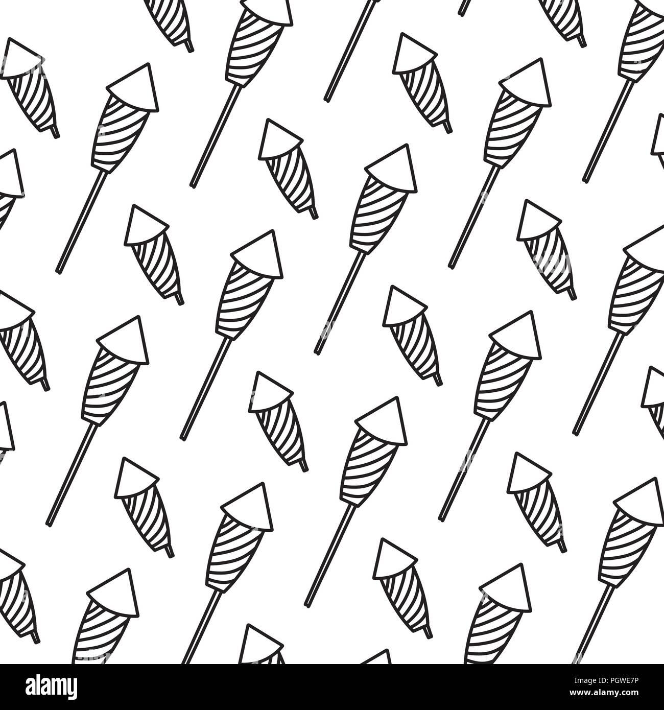 line firework object to celebration holiday background - Stock Image