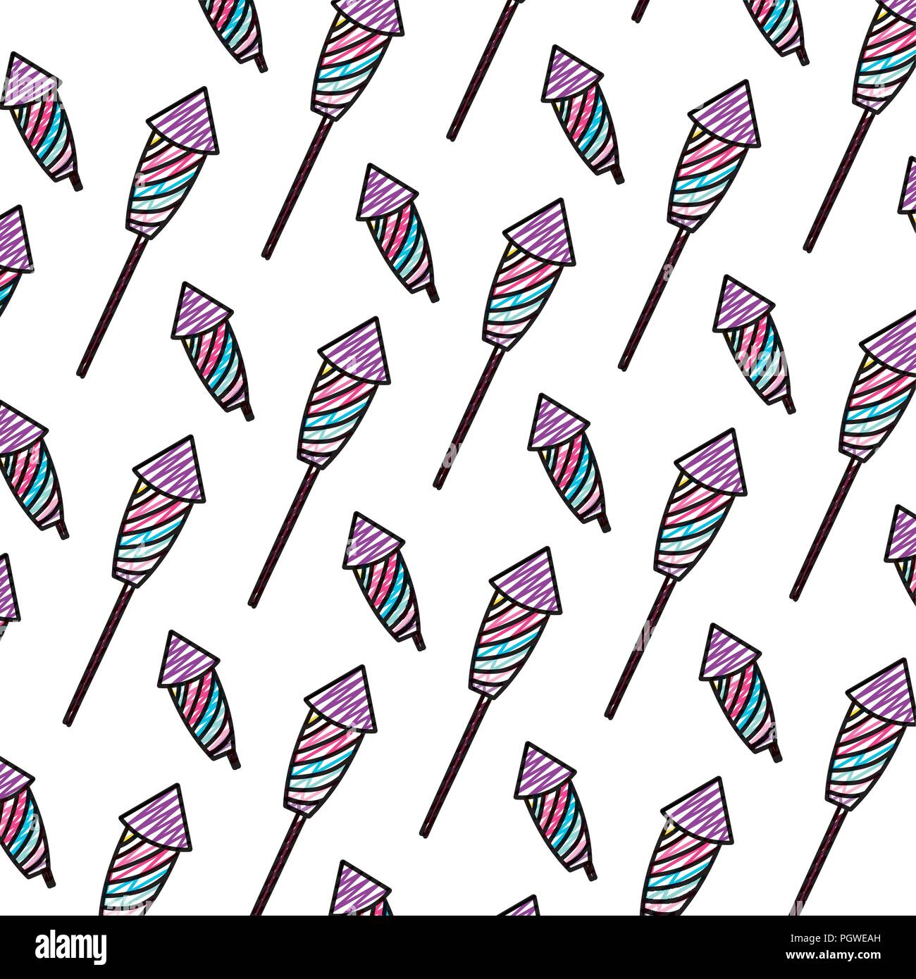 doodle firework object to celebration holiday background - Stock Image