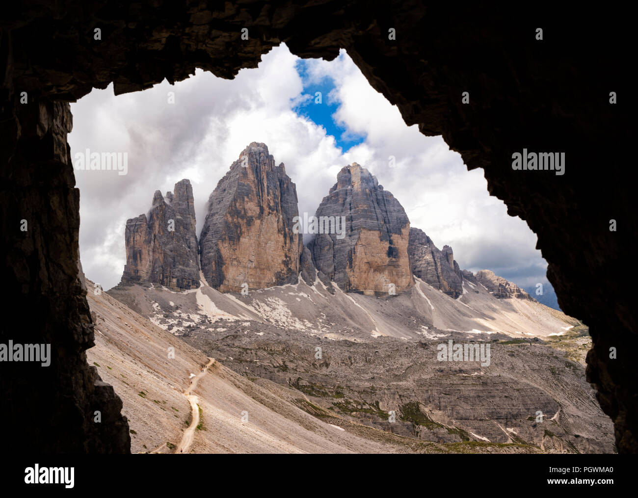 North walls of the Three Peaks of Lavaredo, view from the tunnels of the First World War, nature park Park Sexten Dolomites Stock Photo