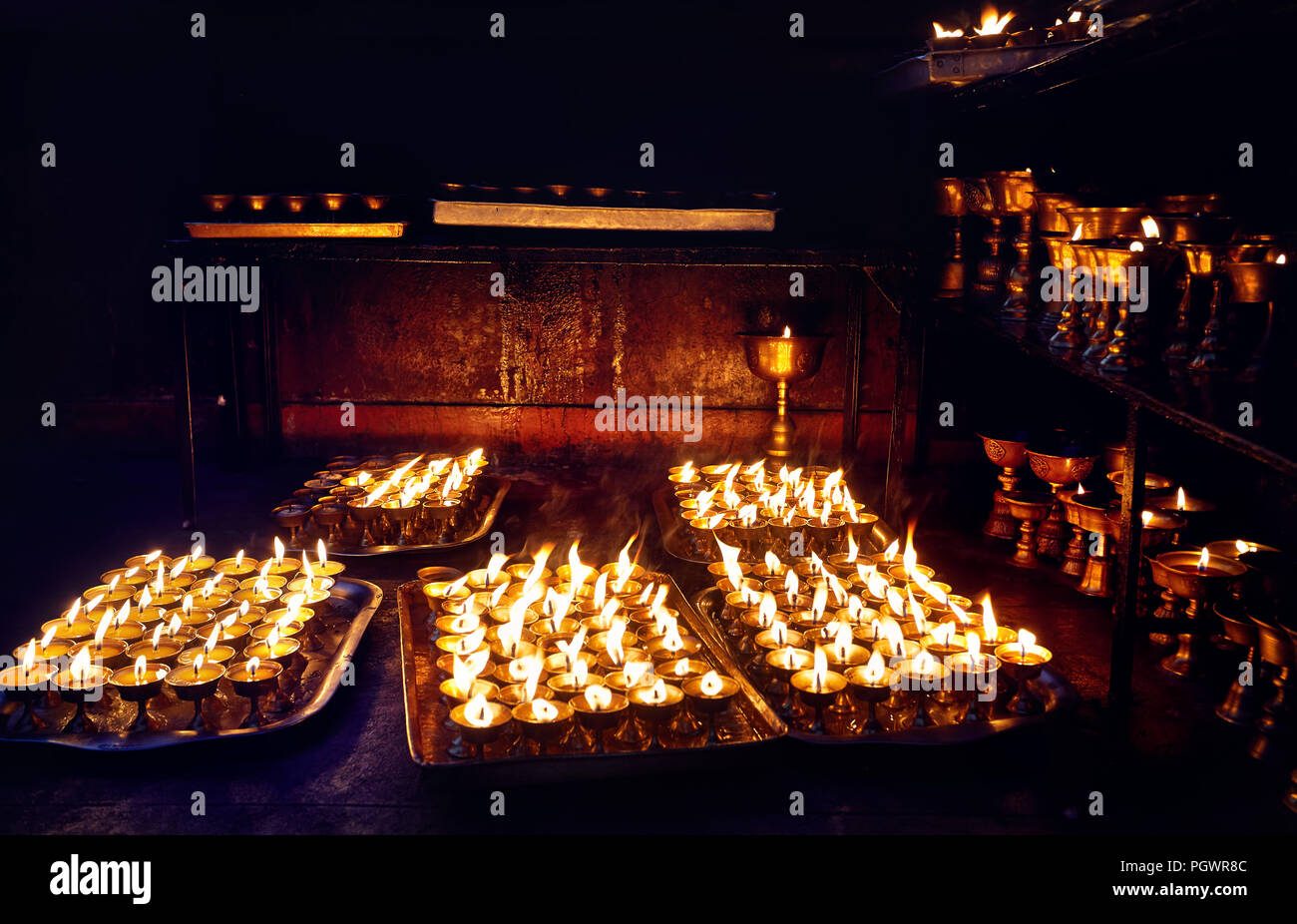 Buddhist lamp for peace in Bodnath temple in Kathmandu the capital of Nepal - Stock Image